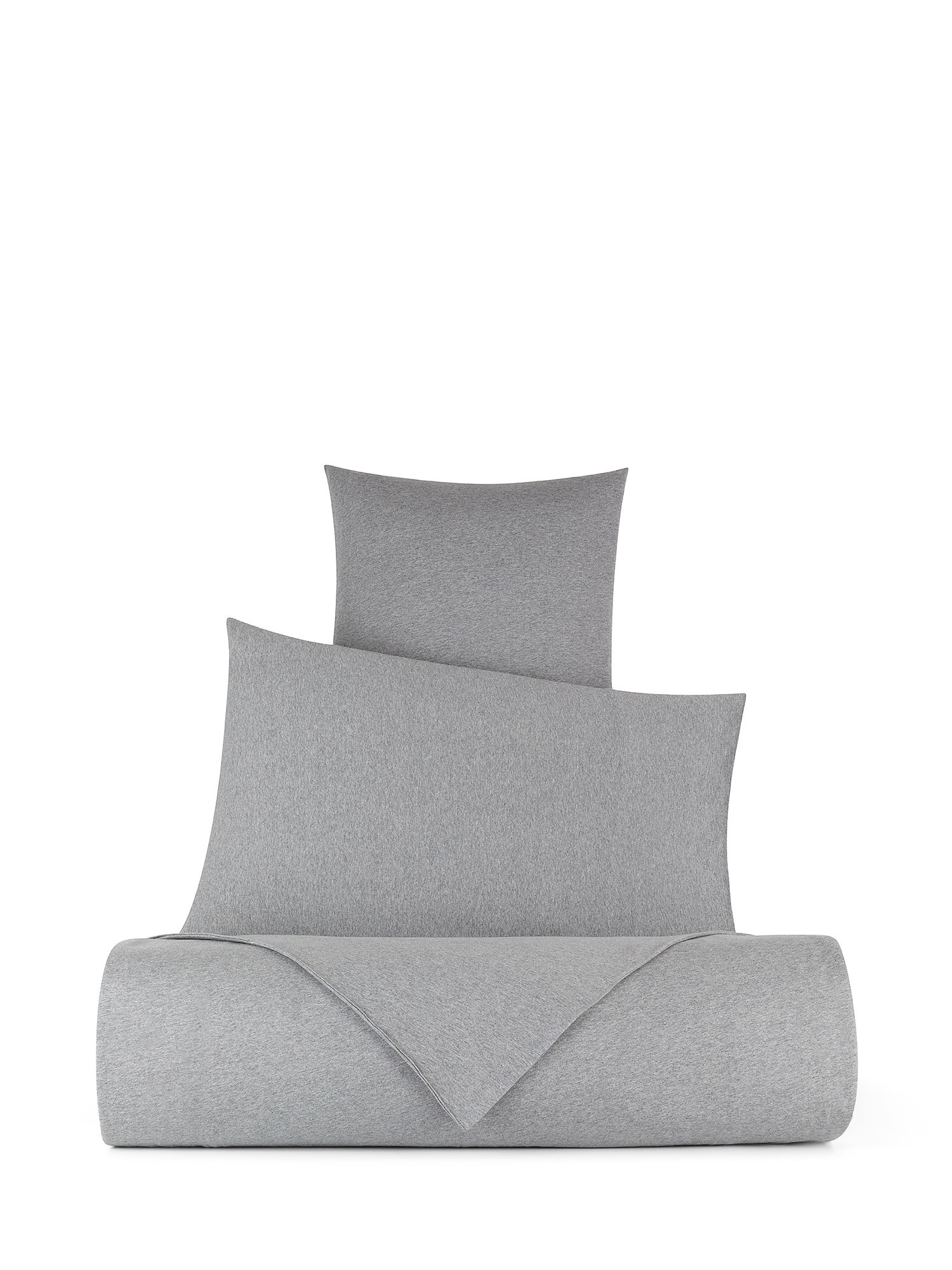 Parure copripiumino jersey di cotone tinta unita, Grigio, large image number 0