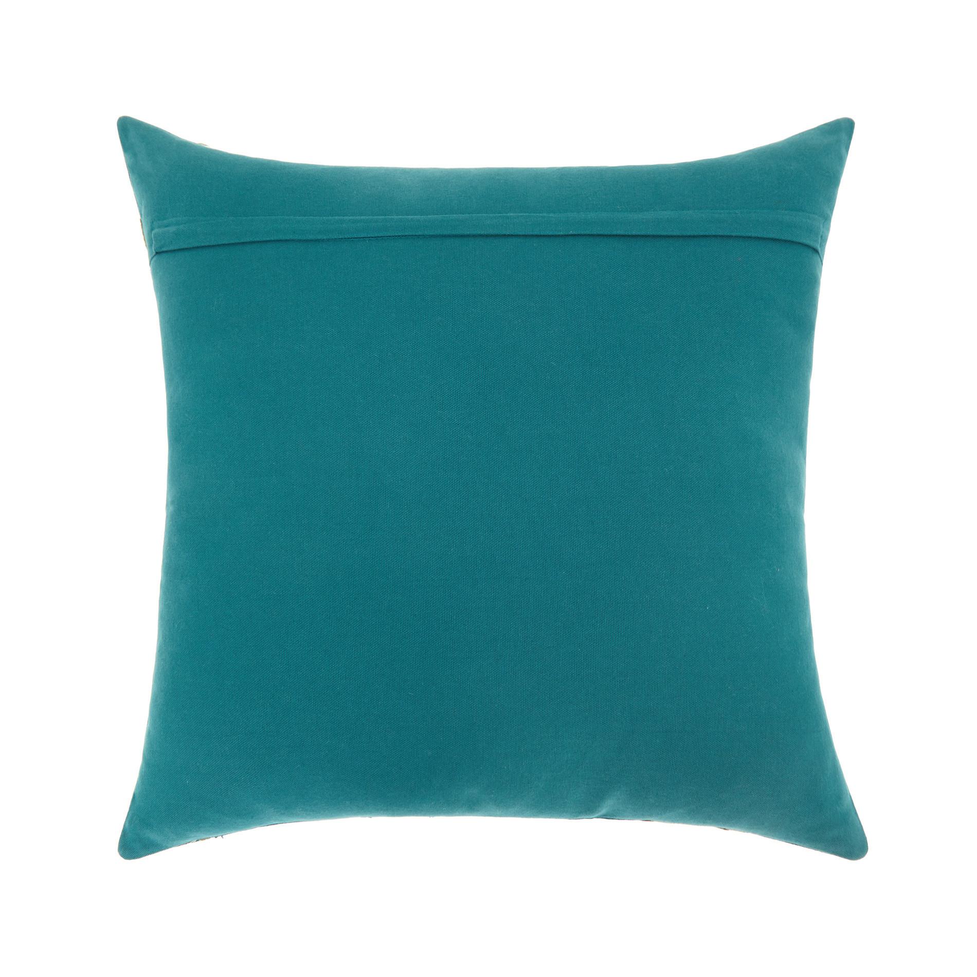 Cuscino ricamo foglie 45x45cm, Verde smeraldo, large image number 1
