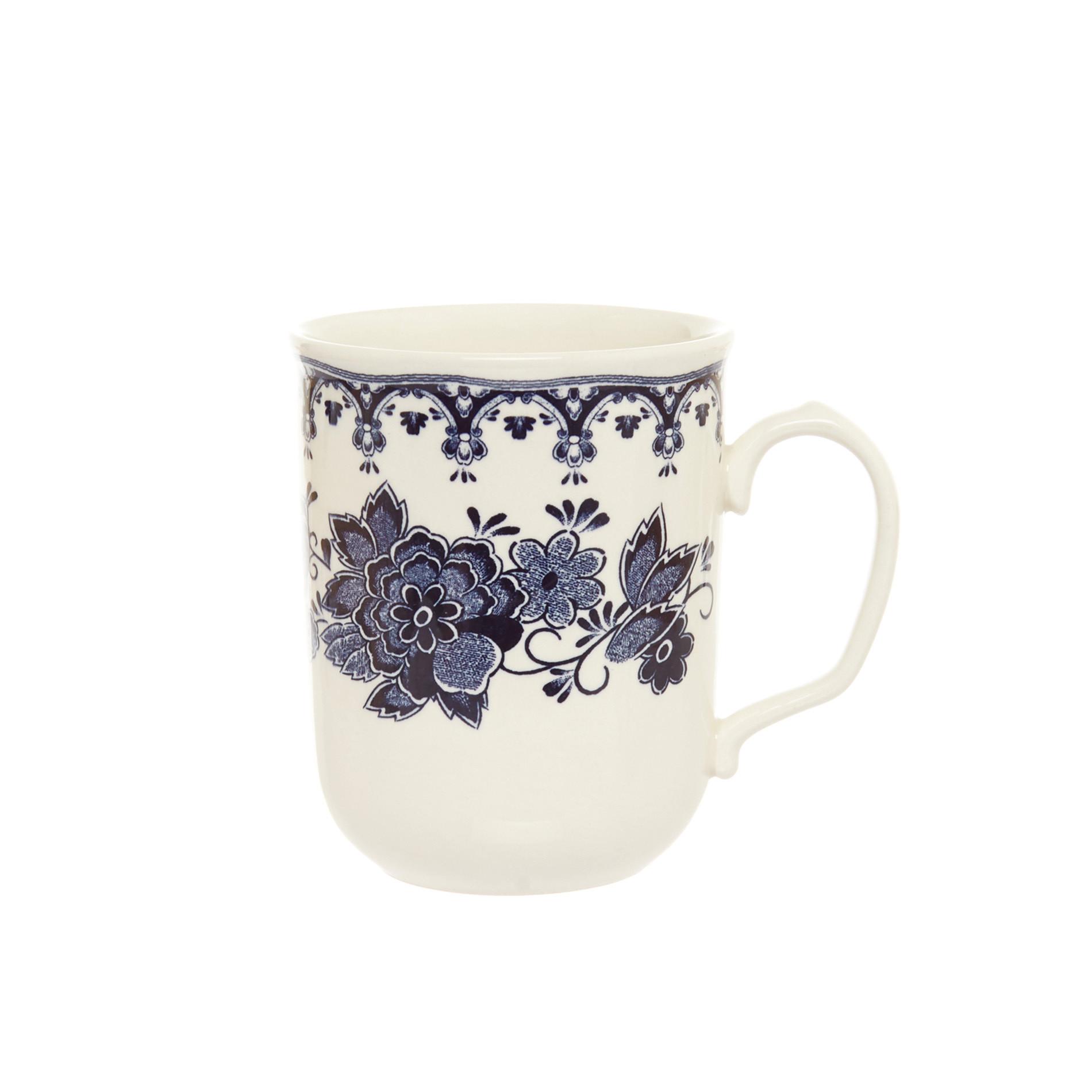 Mug ceramica decoro floreale, Bianco panna, large image number 0