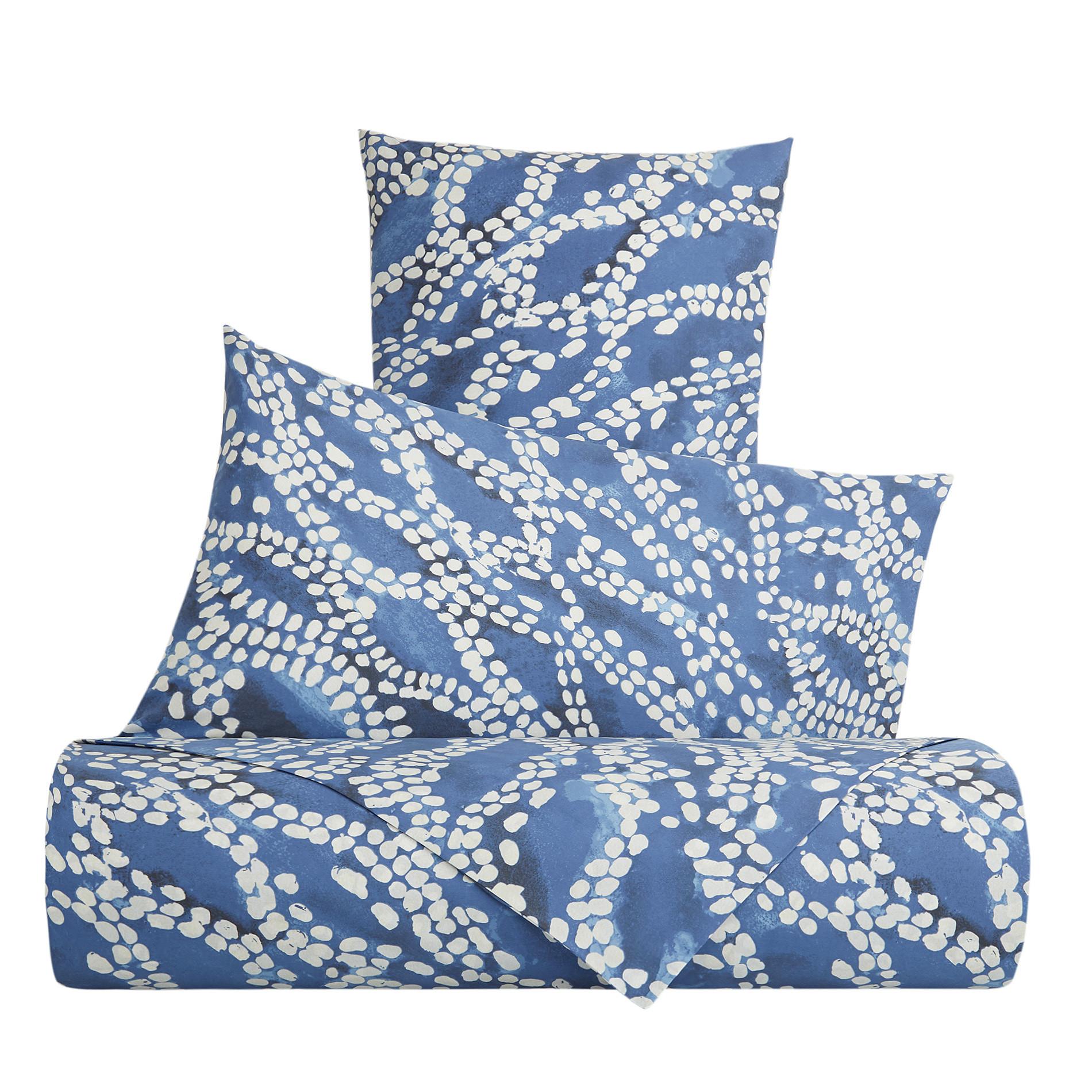 Lenzuolo liscio cotone percalle fantasia a puntini, Blu, large image number 0