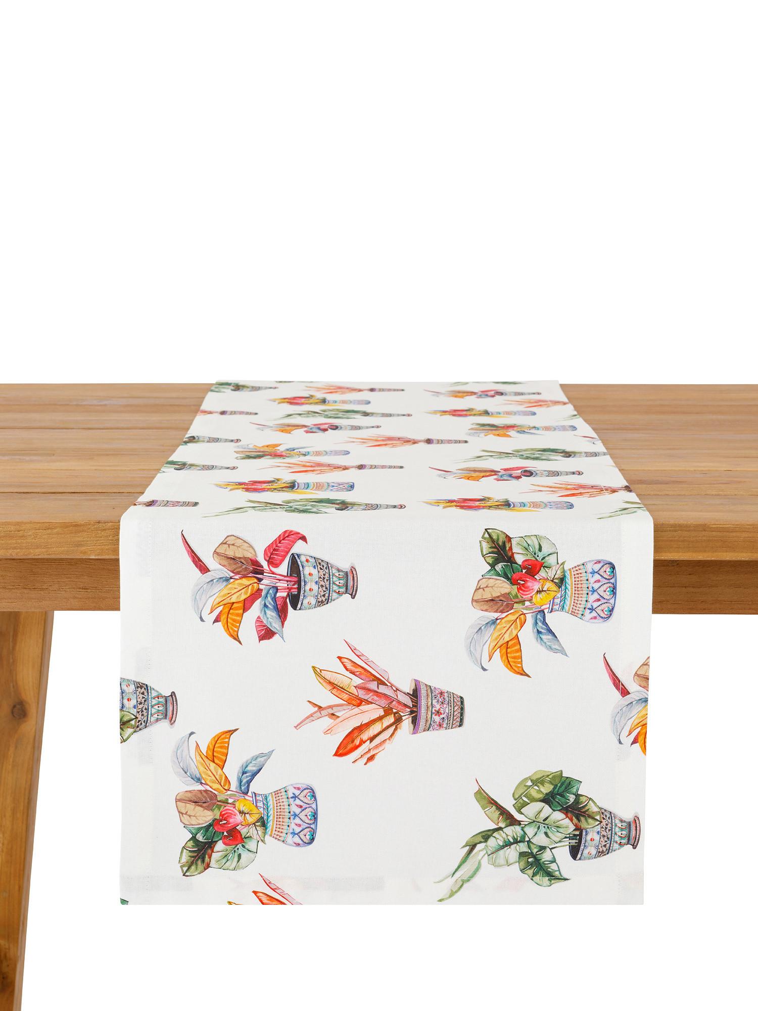Runner puro cotone organico stampa vasi, Multicolor, large image number 0