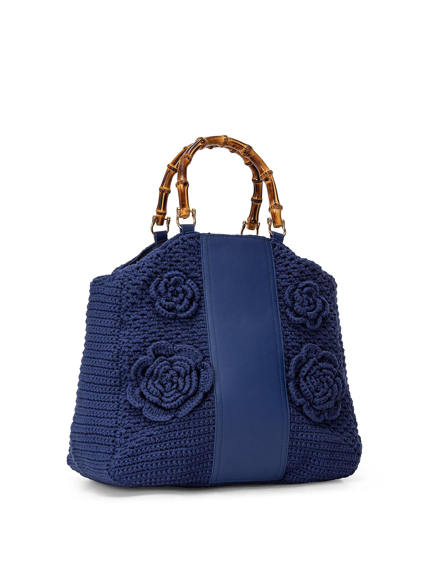 Shopper Crochet con applicazioni, Blu, large image number 1