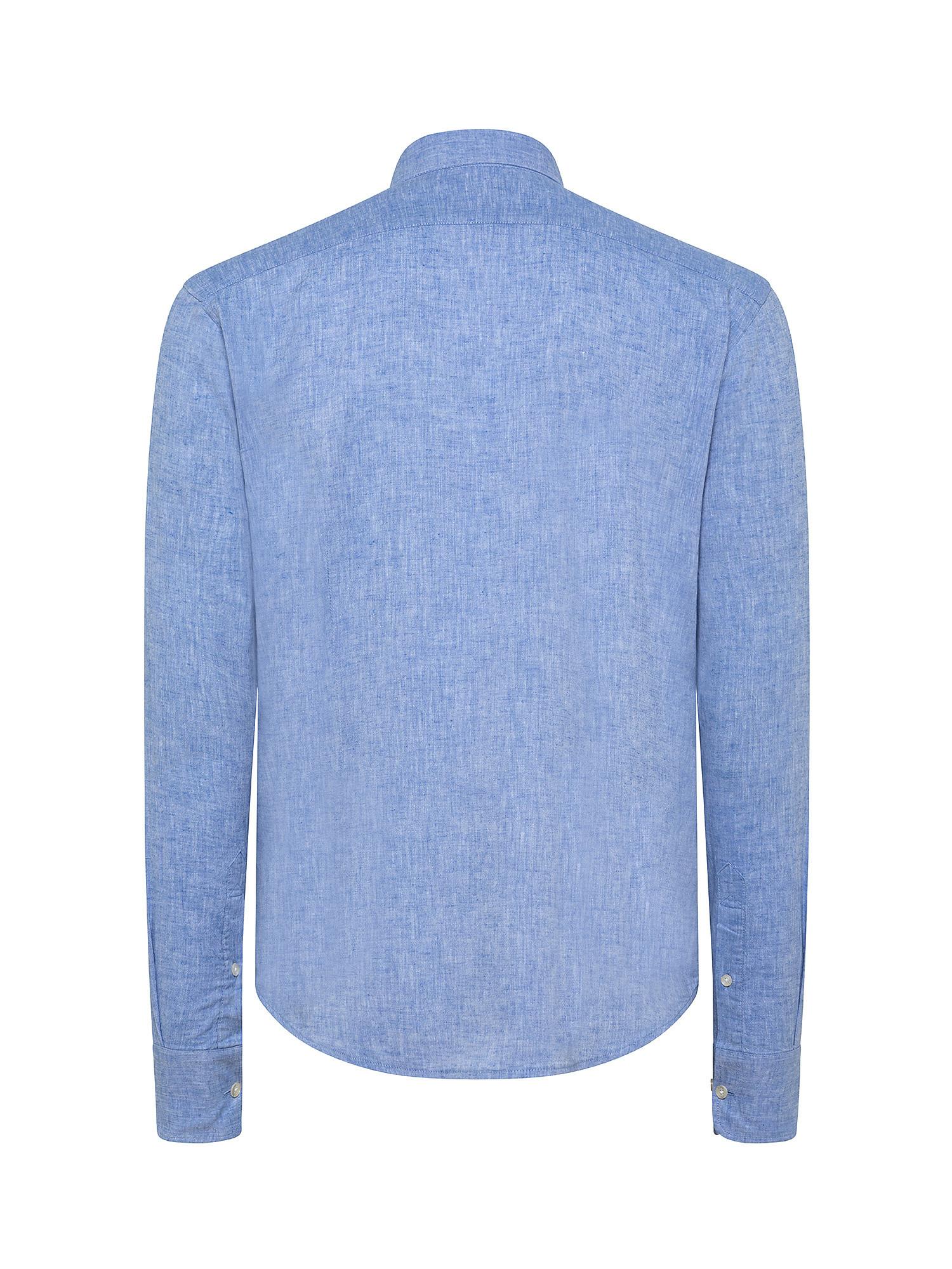 Camicia da uomo in cotone misto lino regular fit, Azzurro, large image number 1