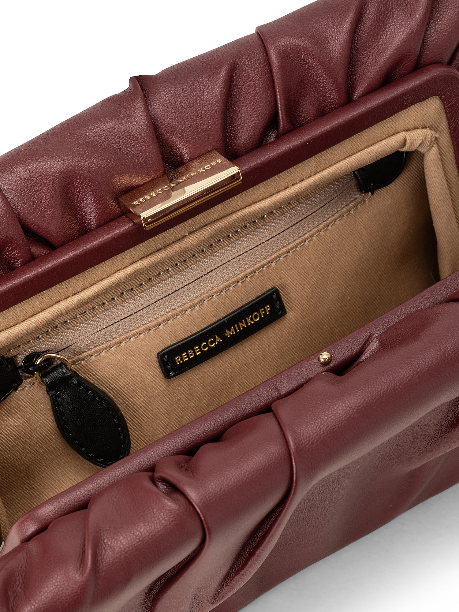 Ruched Frame Clutch, Rosso ciliegia, large image number 2