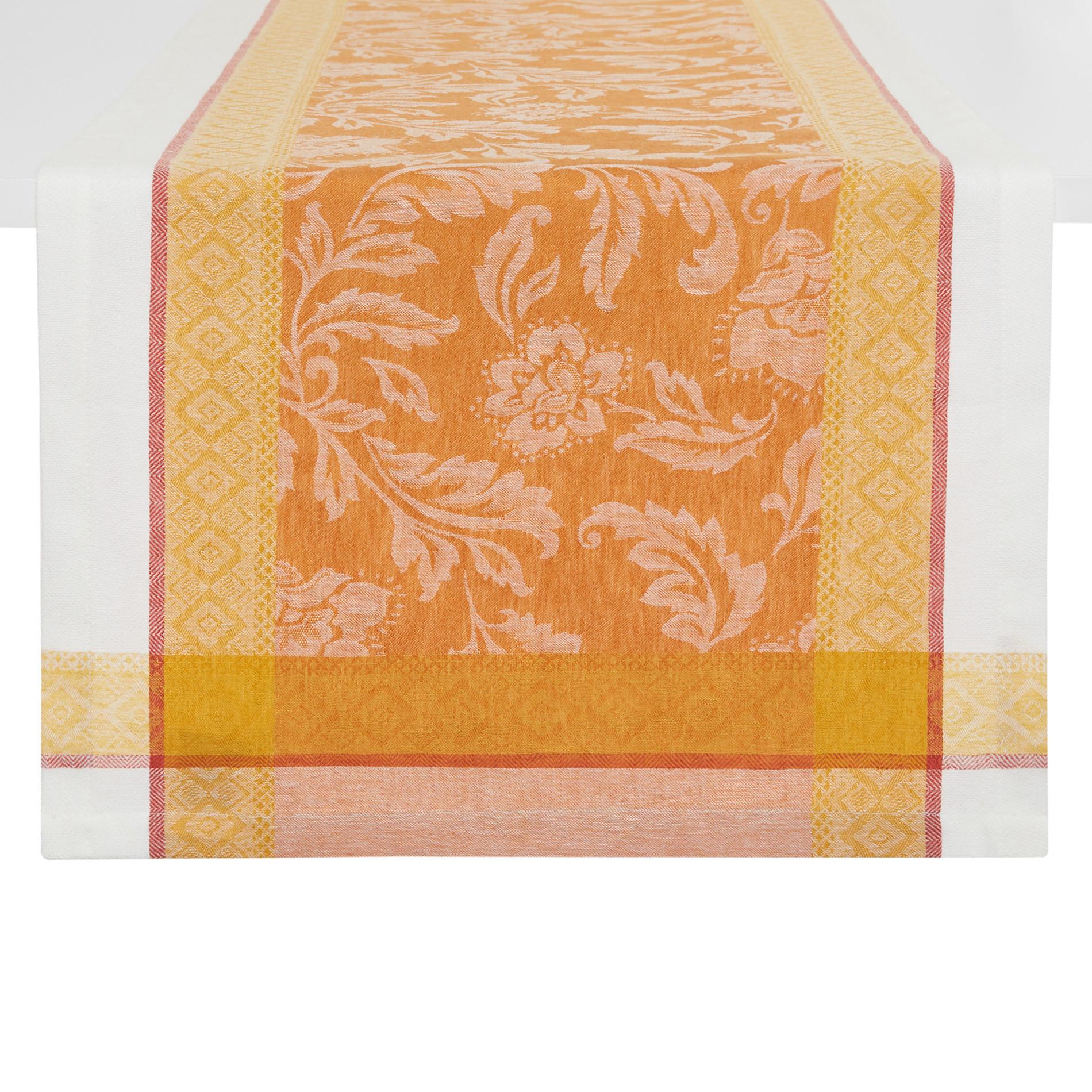 Runner lino e cotone motivo ornamentale, Arancione, large image number 0