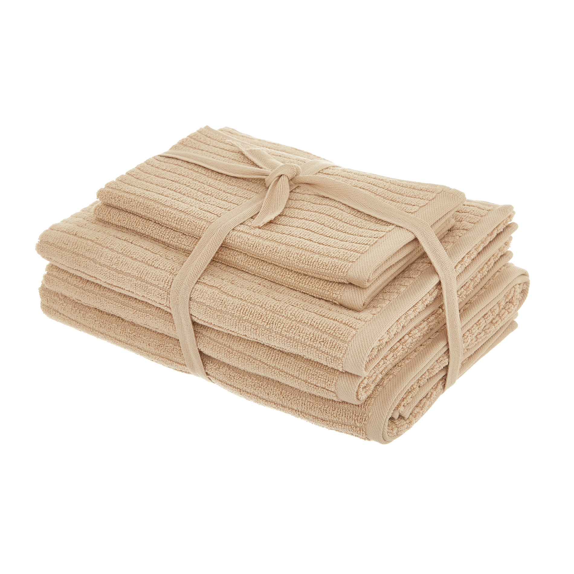 Set asciugamani puro cotone righe jacquard tinta unita, Beige, large image number 0