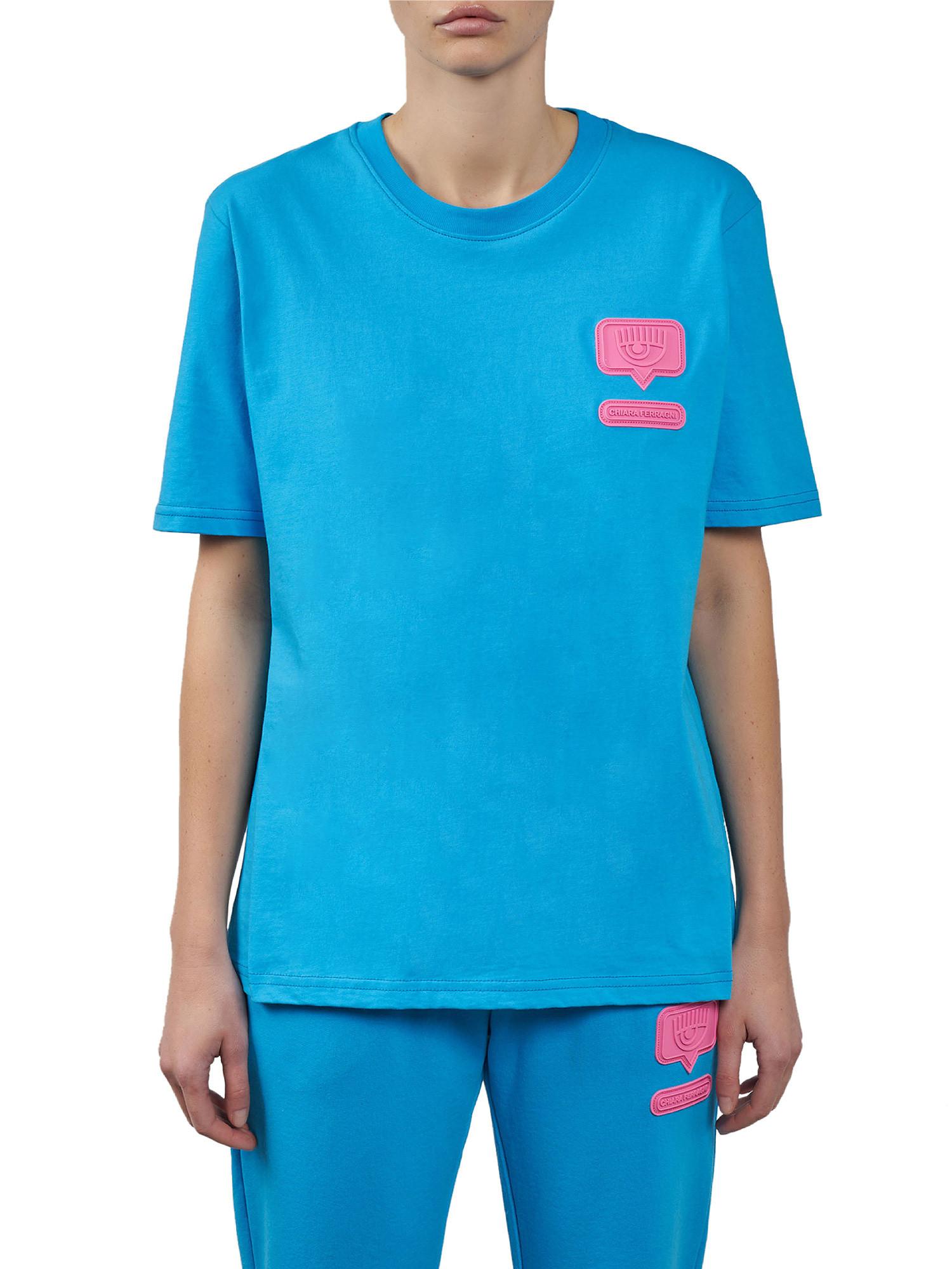 Eyelike patch T-Shirt over, Azzurro Oceano, large image number 2