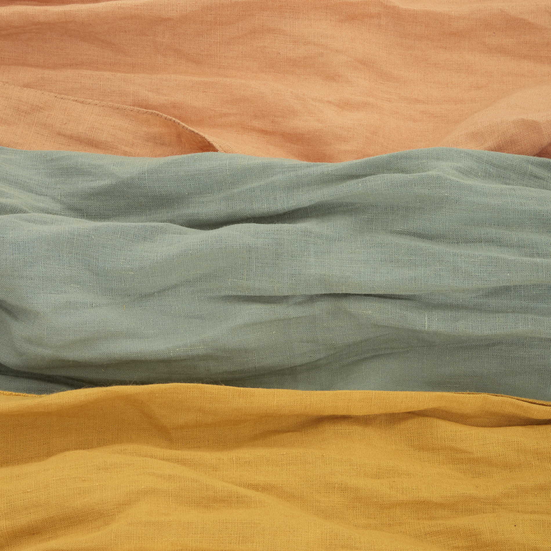 Sciarpa in puro lino tinta unita, Giallo chiaro, large image number 2
