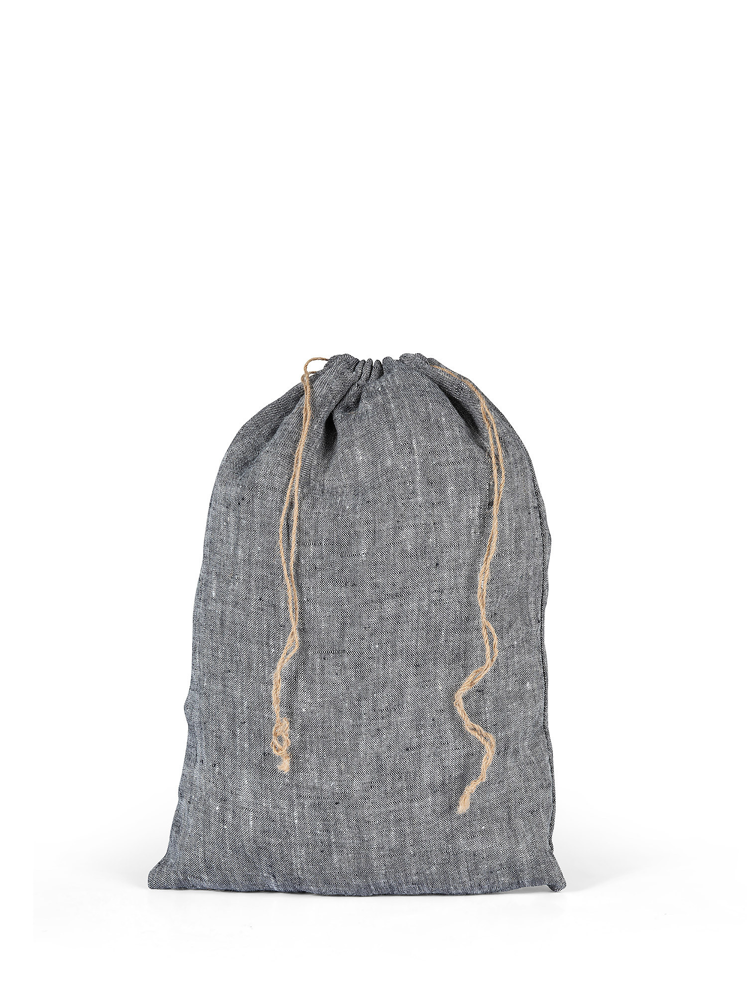 Sacchettino lino lavato tinta unita, Grigio, large image number 0