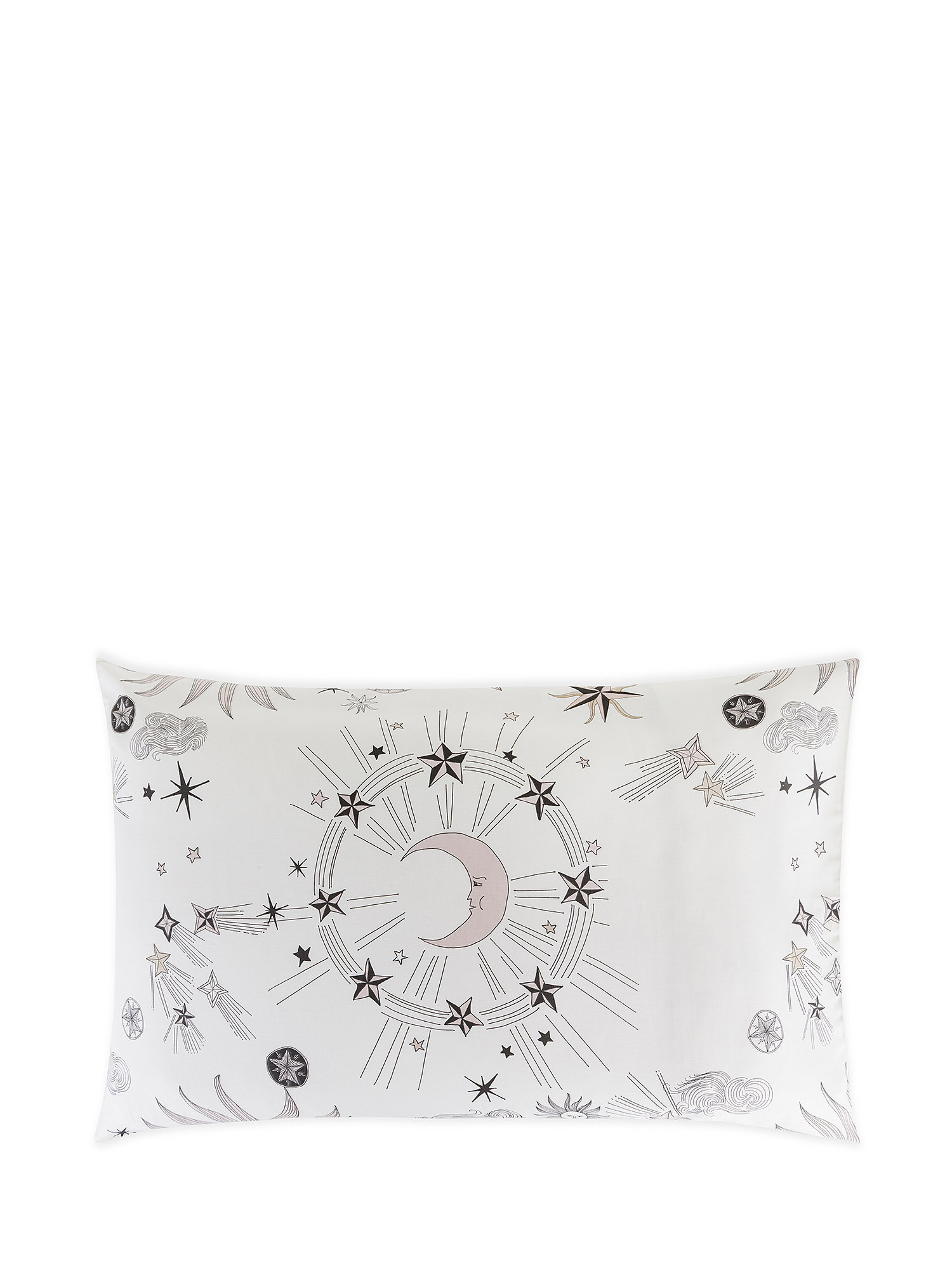 Federa raso di cotone fantasia sole e luna, Bianco, large image number 0