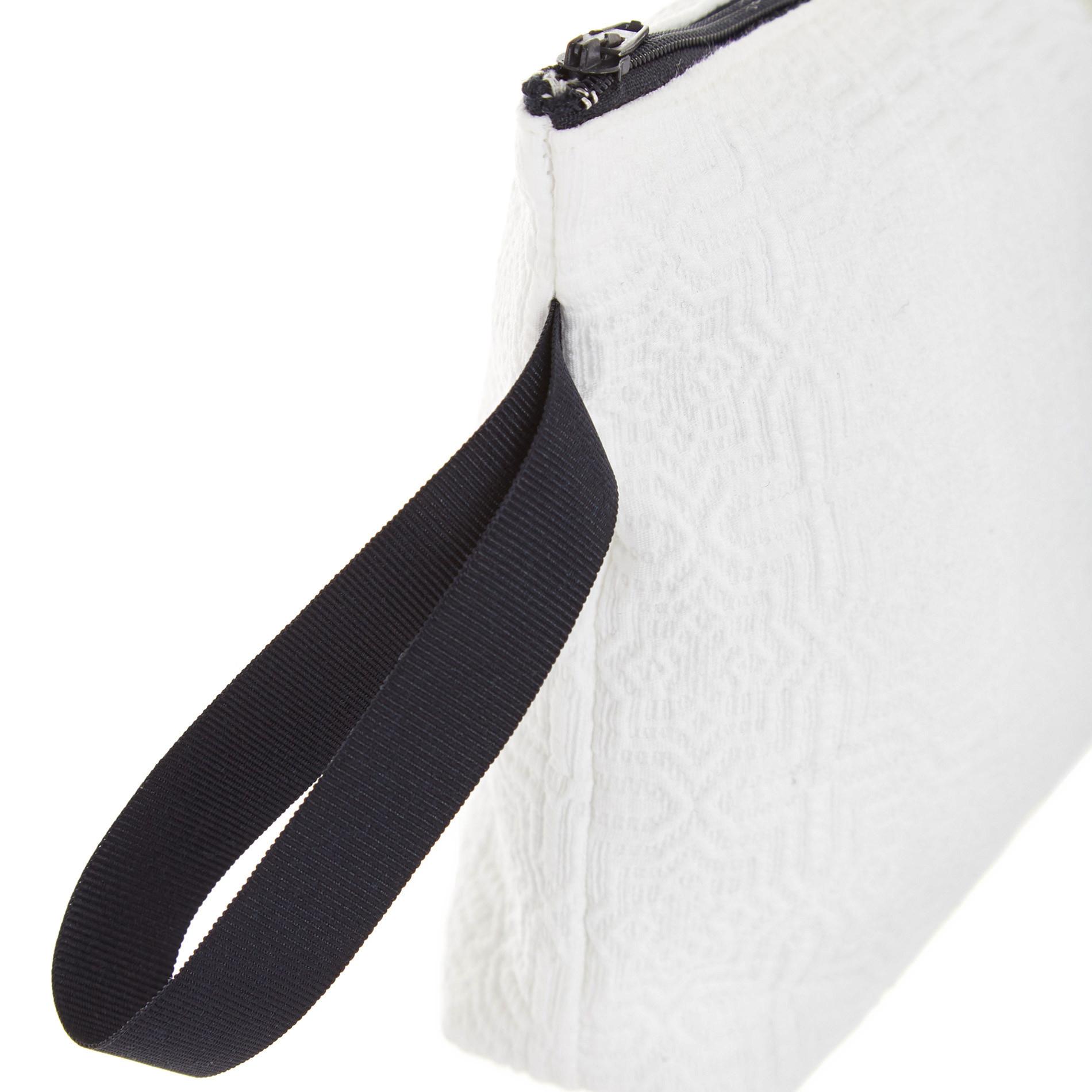 Astuccio in cotone con zip, Bianco, large image number 1