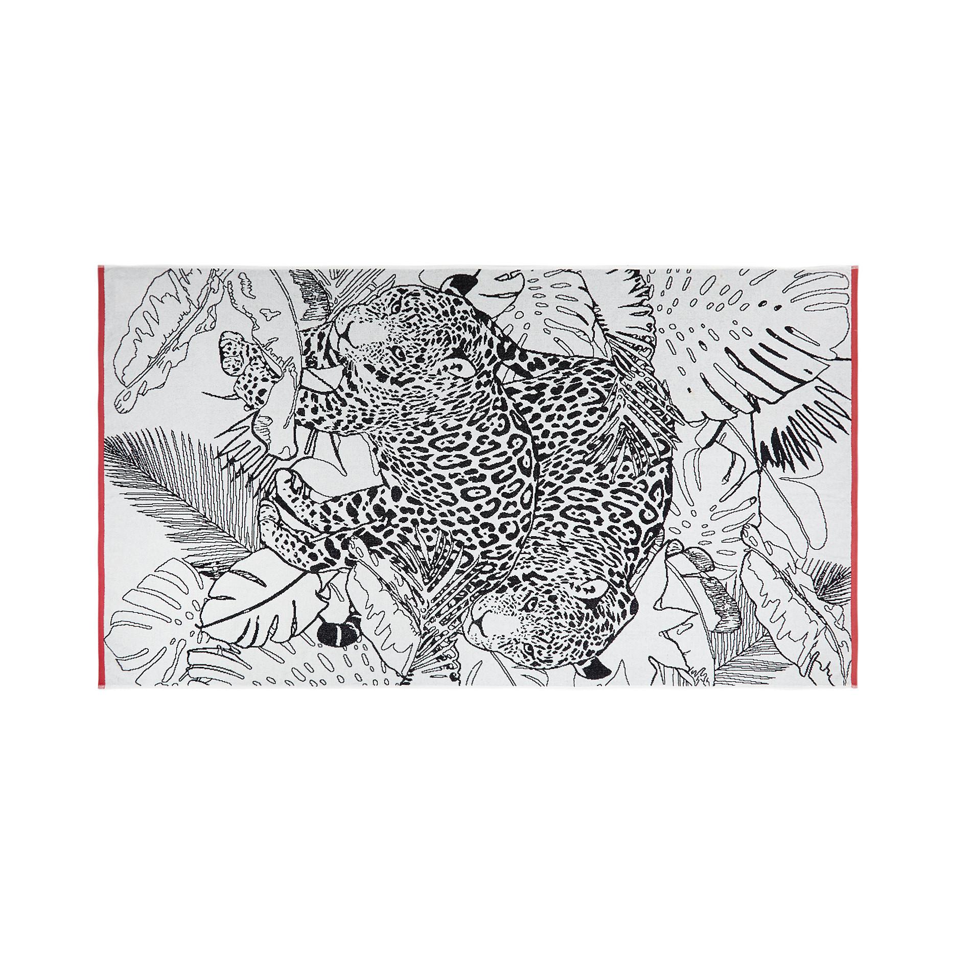 Telo mare cotone velour motivo animalier, Bianco, large image number 0