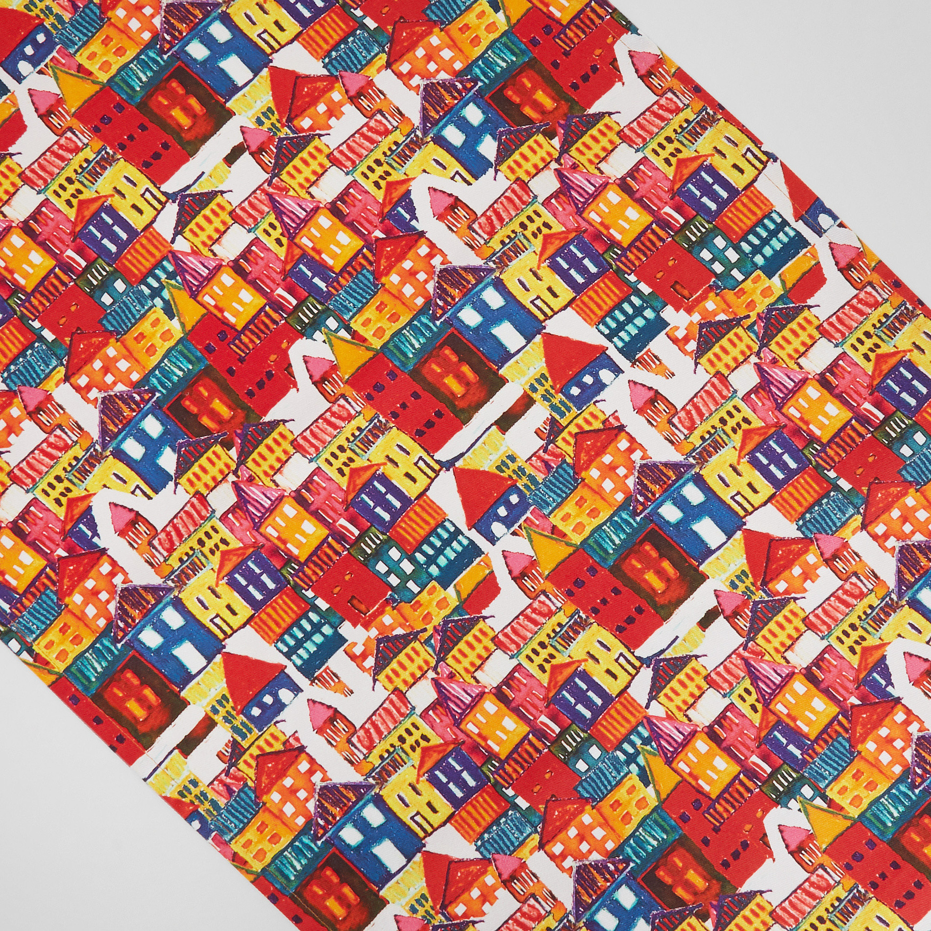 Runner twill di cotone stampa casette, Multicolor, large image number 1
