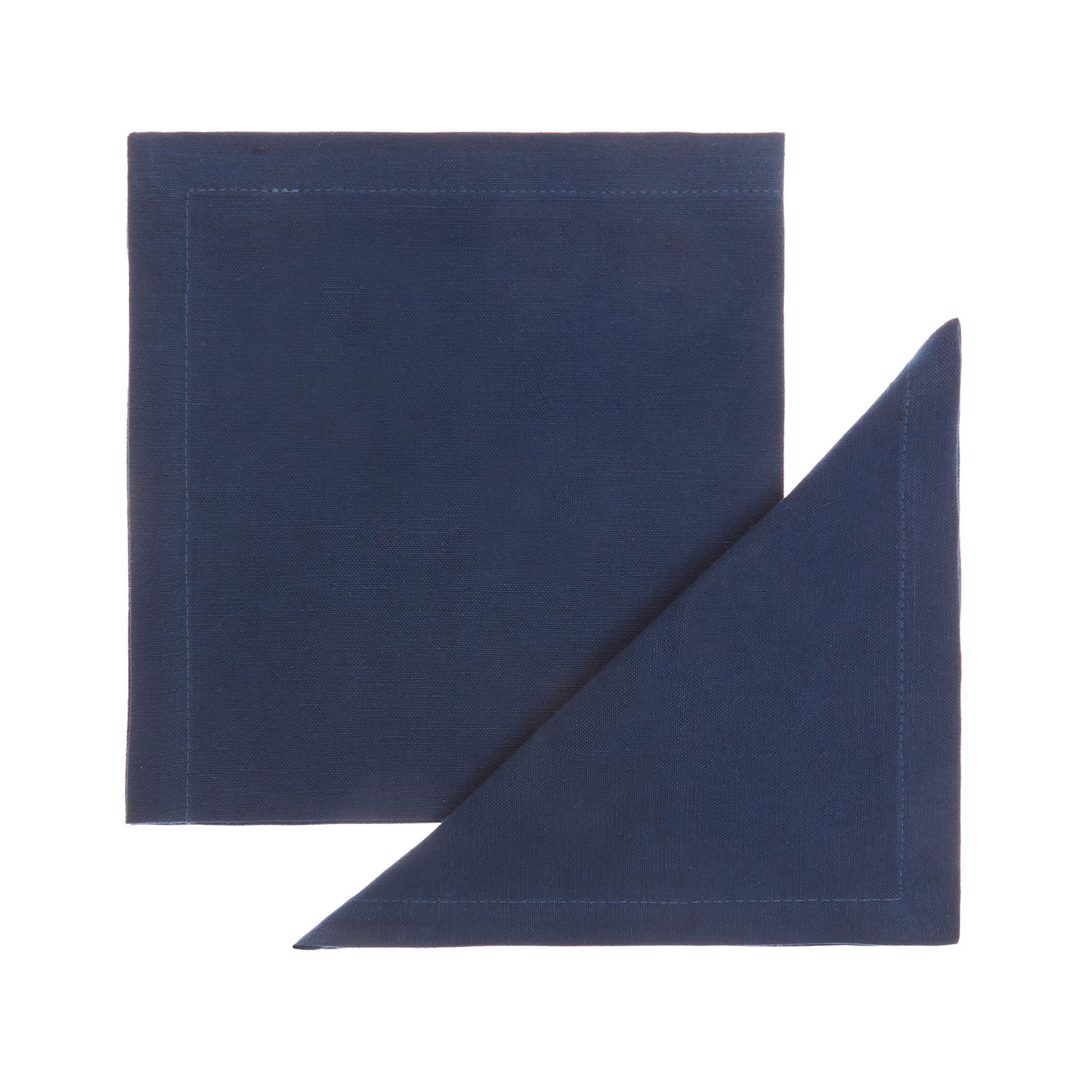 Set 2 tovaglioli lino e cotone tinta unita, Blu, large image number 0
