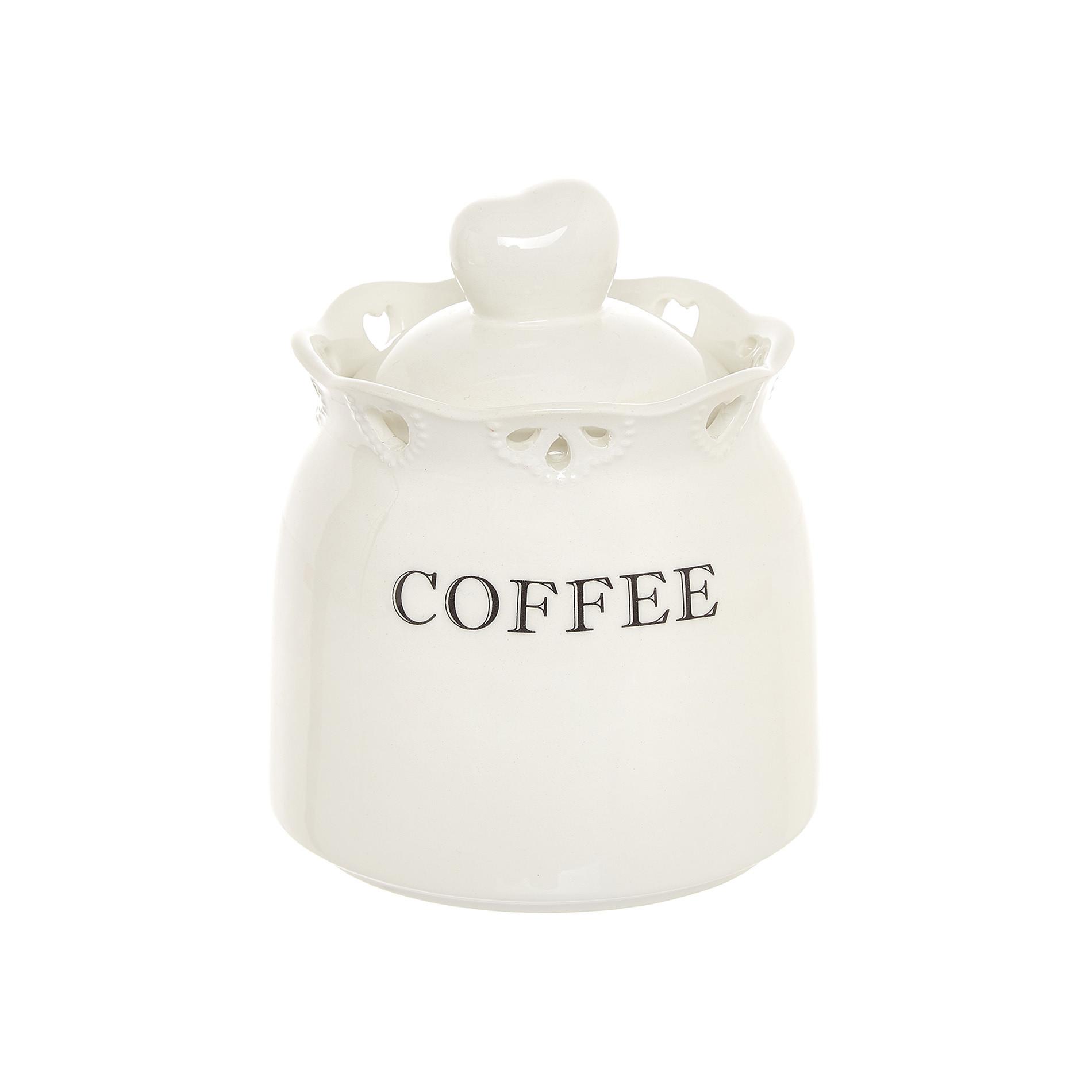 Barattolo coffee ceramica traforata, Bianco, large image number 0