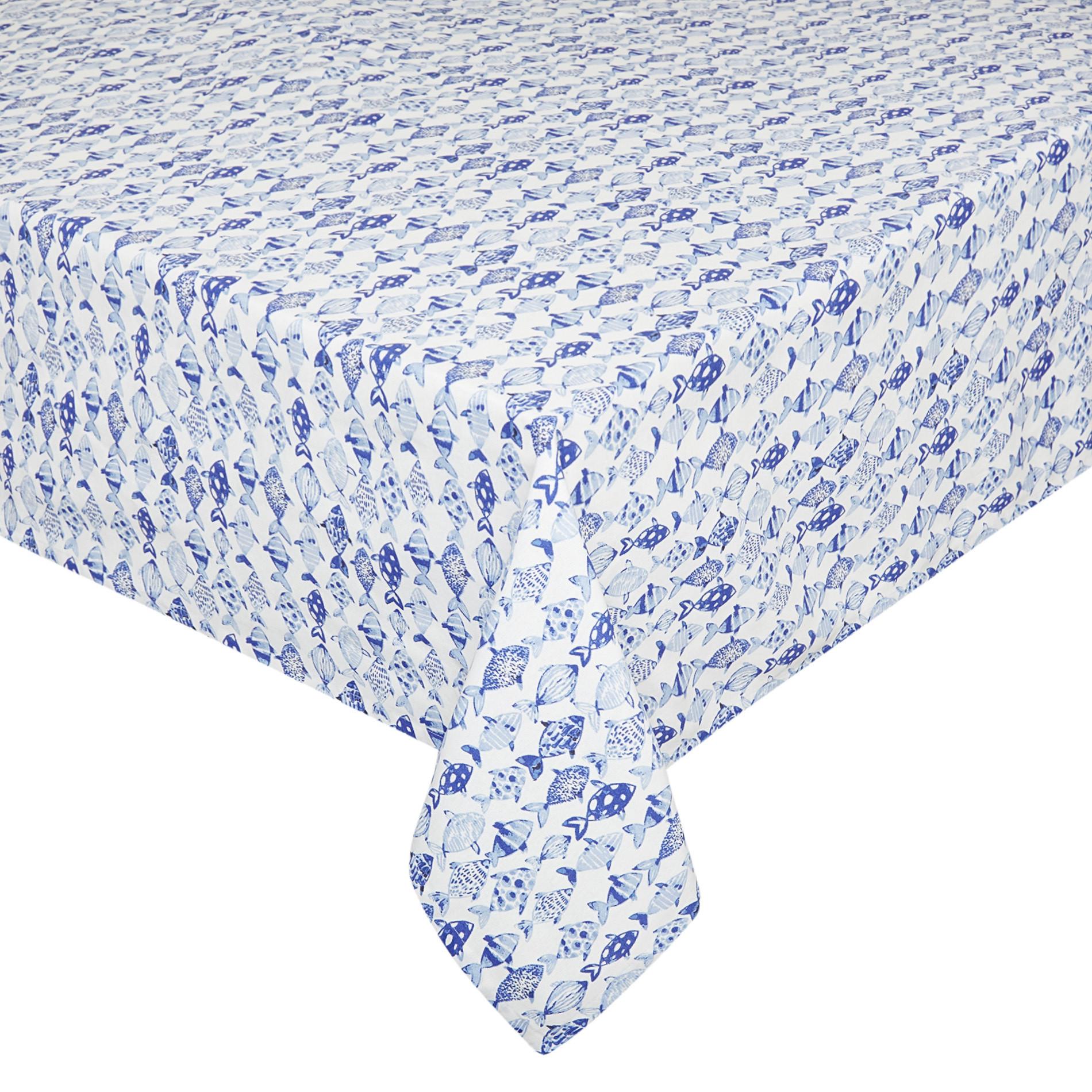 Tovaglia puro cotone idrorepellente stampa pesci, Azzurro, large image number 0