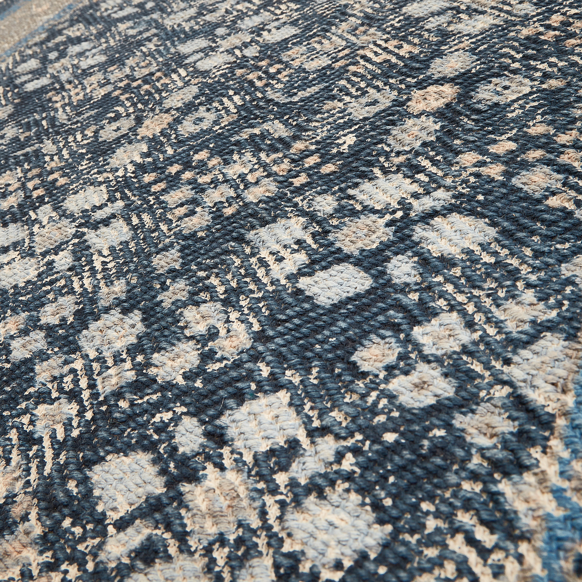 Tappeto cotone motivo floreale effetto vintage, Blu, large image number 1