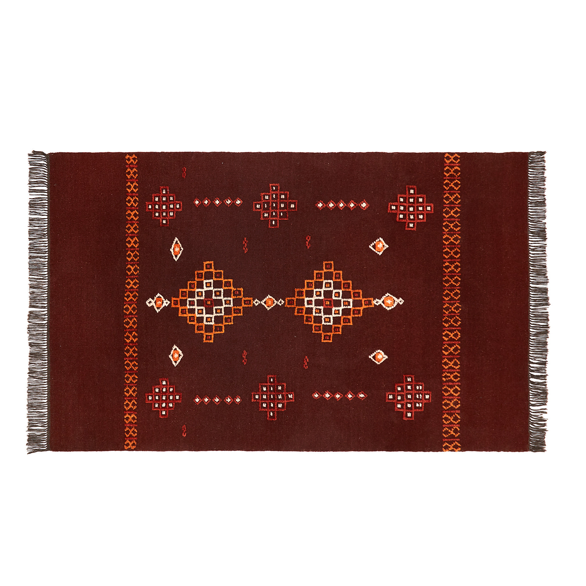 Tappeto lana tessuto a mano motivo kilim, Rosso scuro, large image number 0