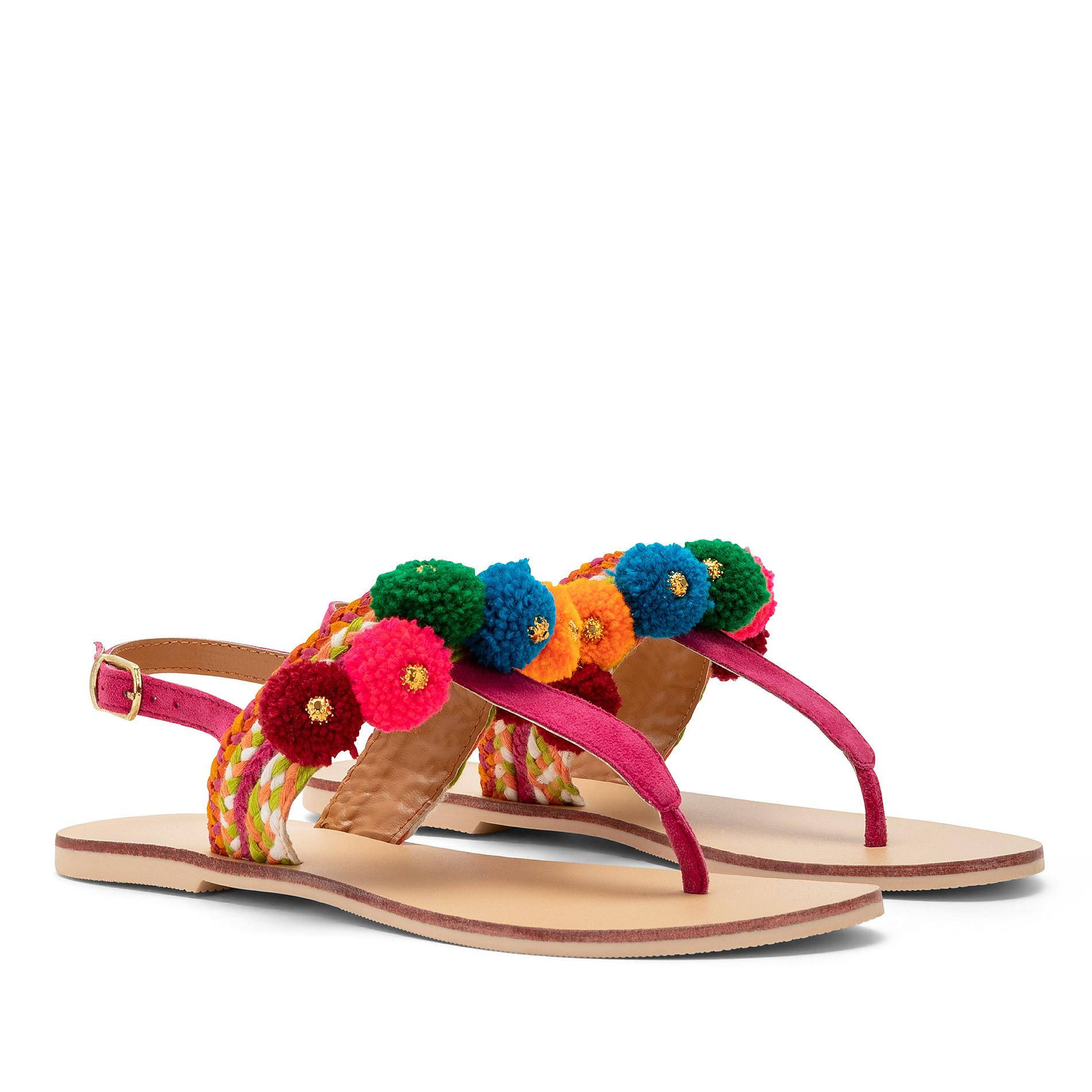 Sandalo infradito con pompon, Multicolor, large image number 0
