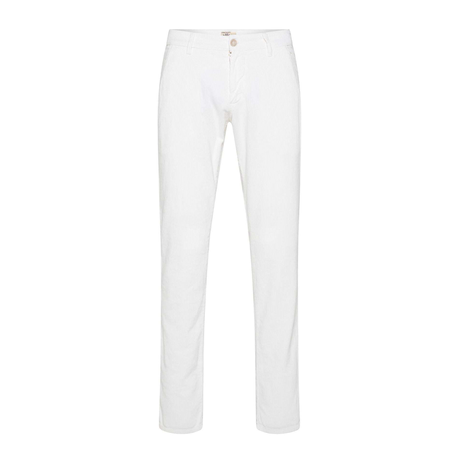 Pantaloni chino velluto stretch, Bianco, large image number 0