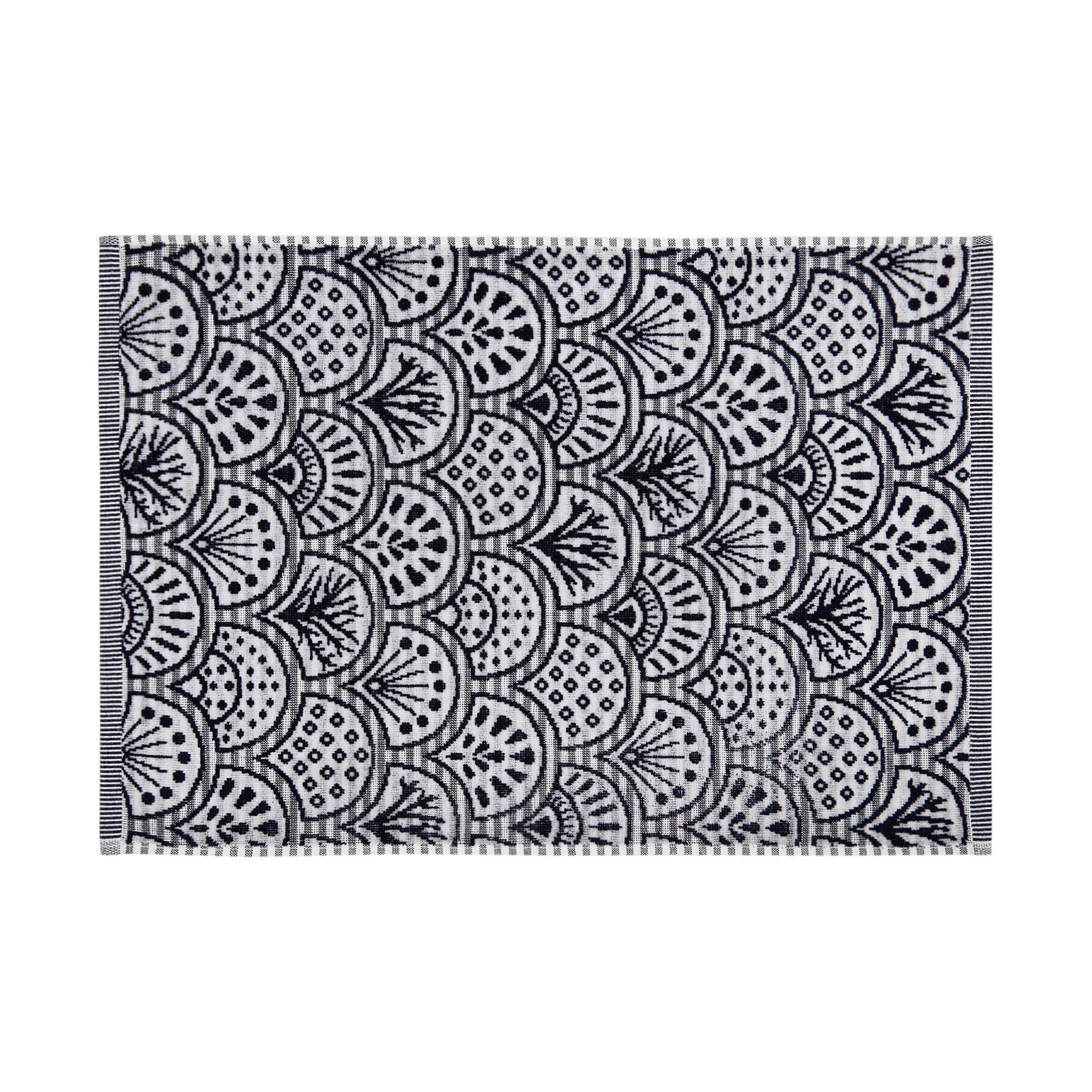Asciugamano cotone velour motivo ventagli, Blu scuro, large image number 1