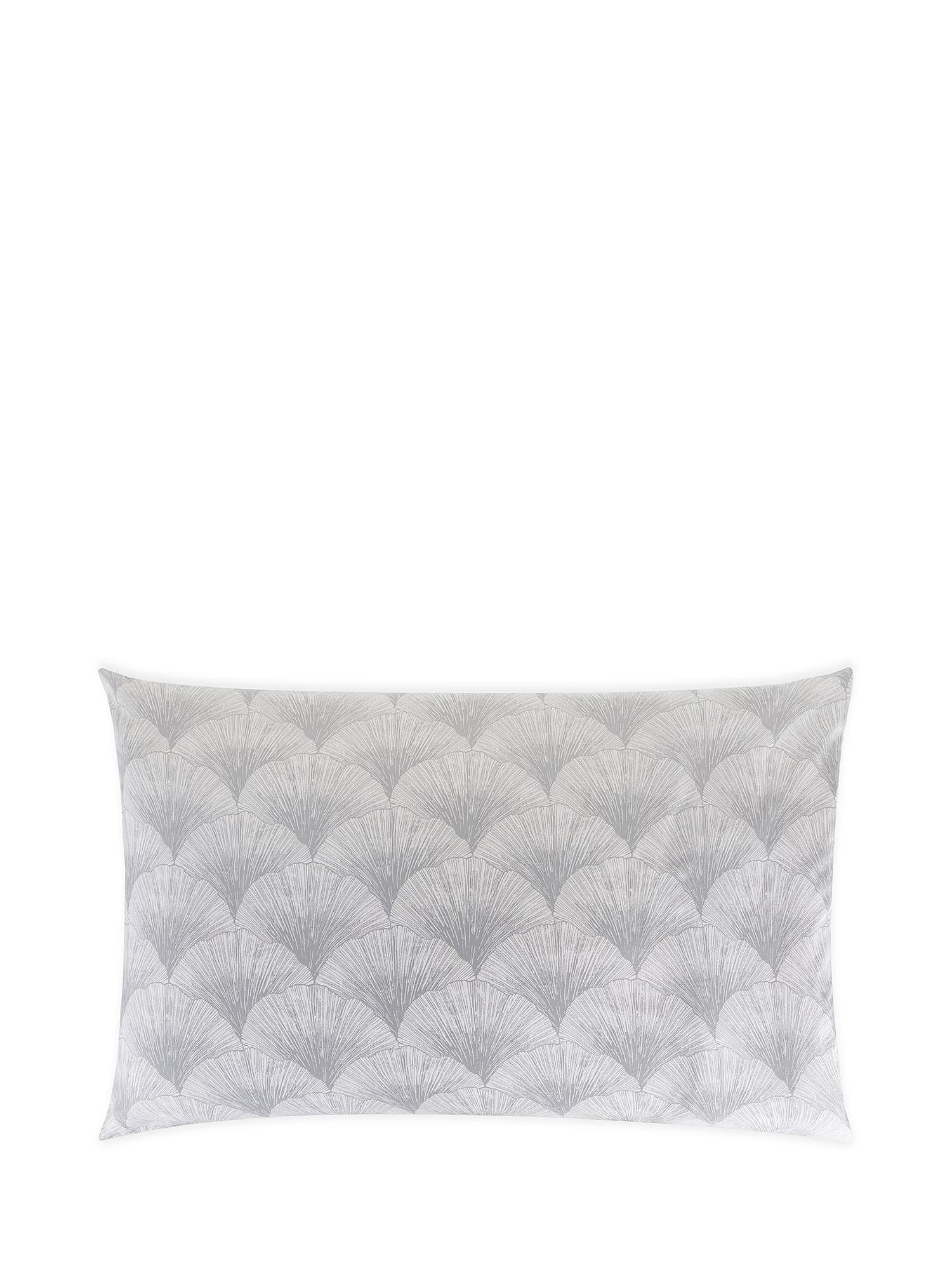 Federa raso di cotone fantasia Ginkgo, Bianco, large image number 0