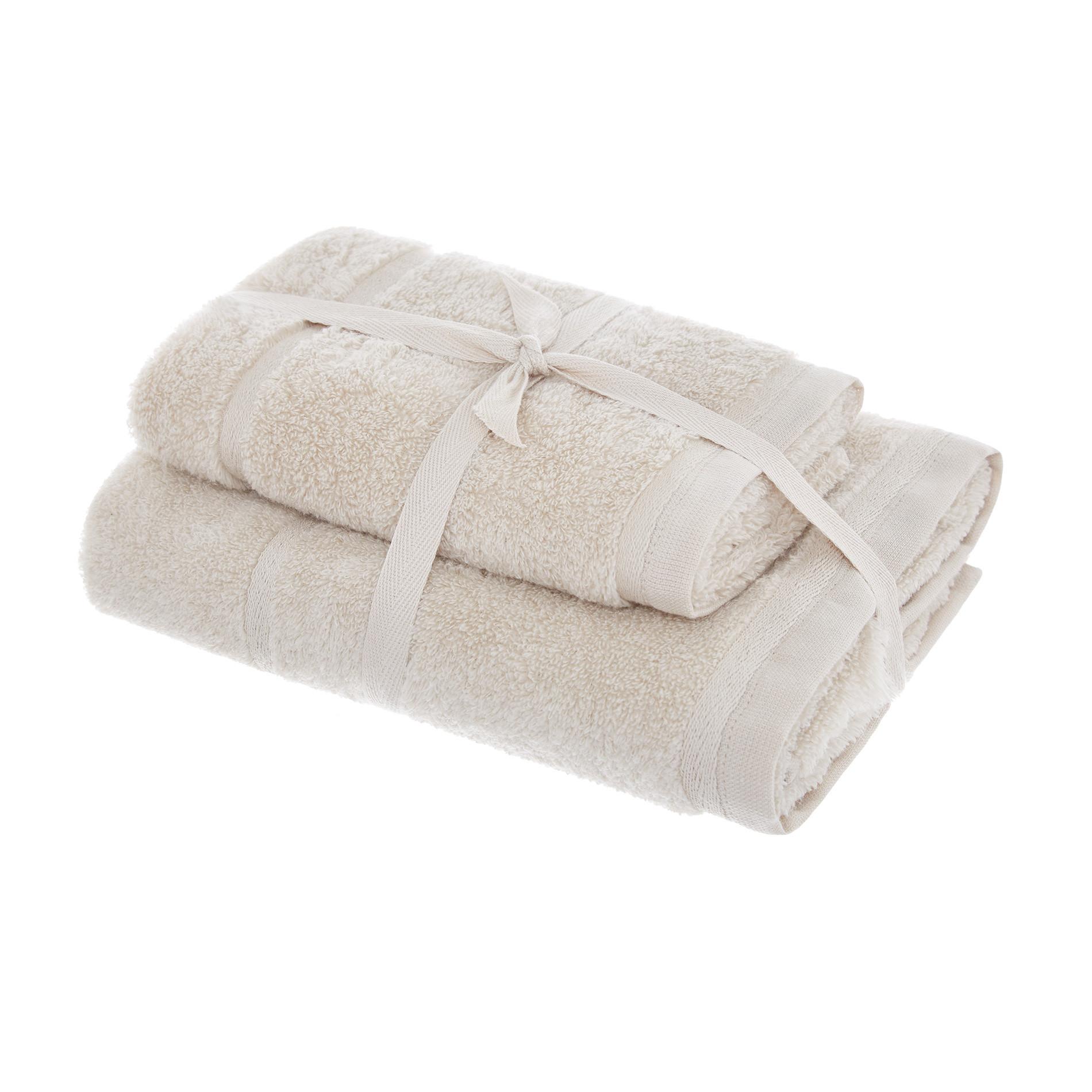 Set asciugamani spugna di cotone tinta unita, Beige, large image number 0