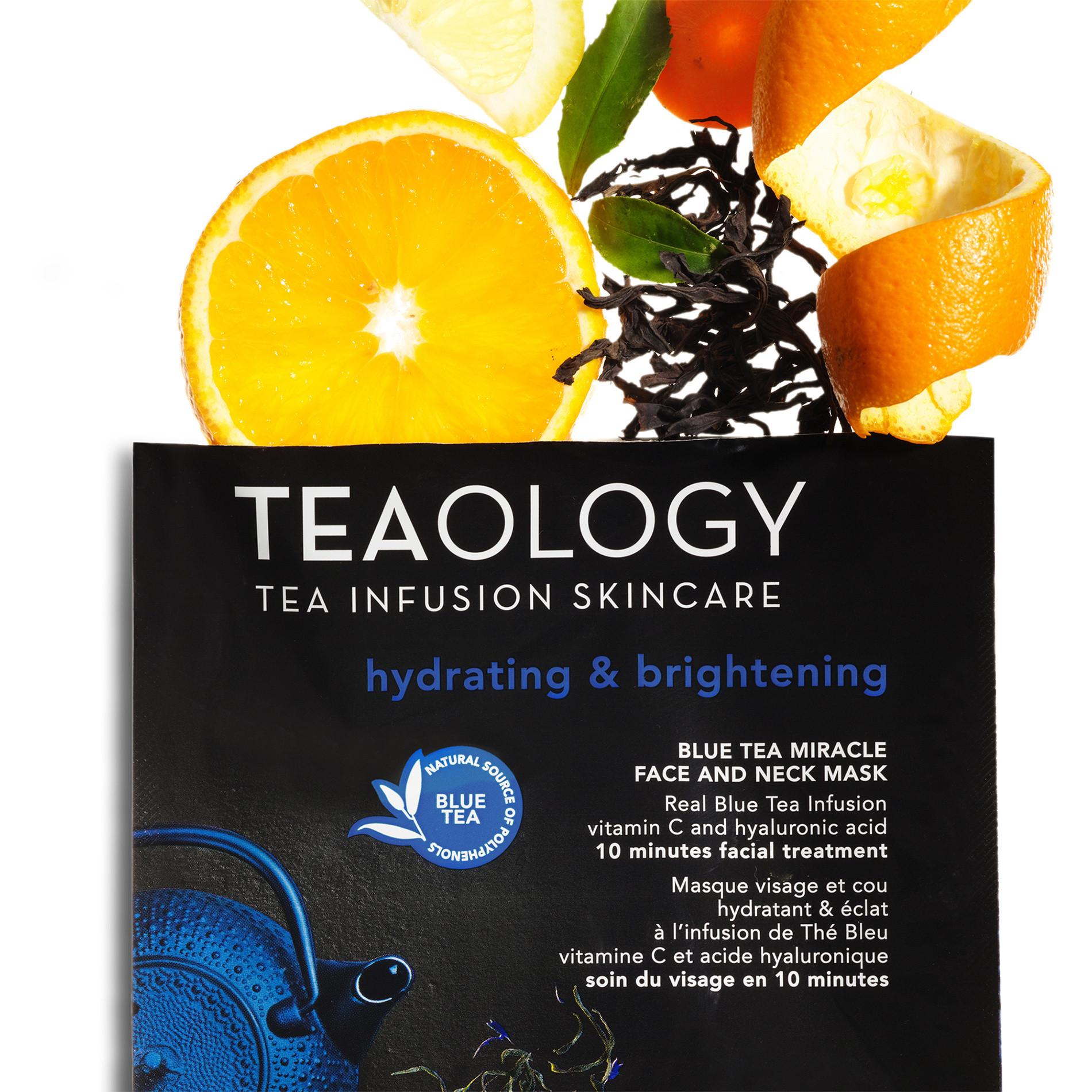 Blue Tea Miracle Face and Neck Mask Idratante e Illuminante 30 ml, Nero, large image number 2