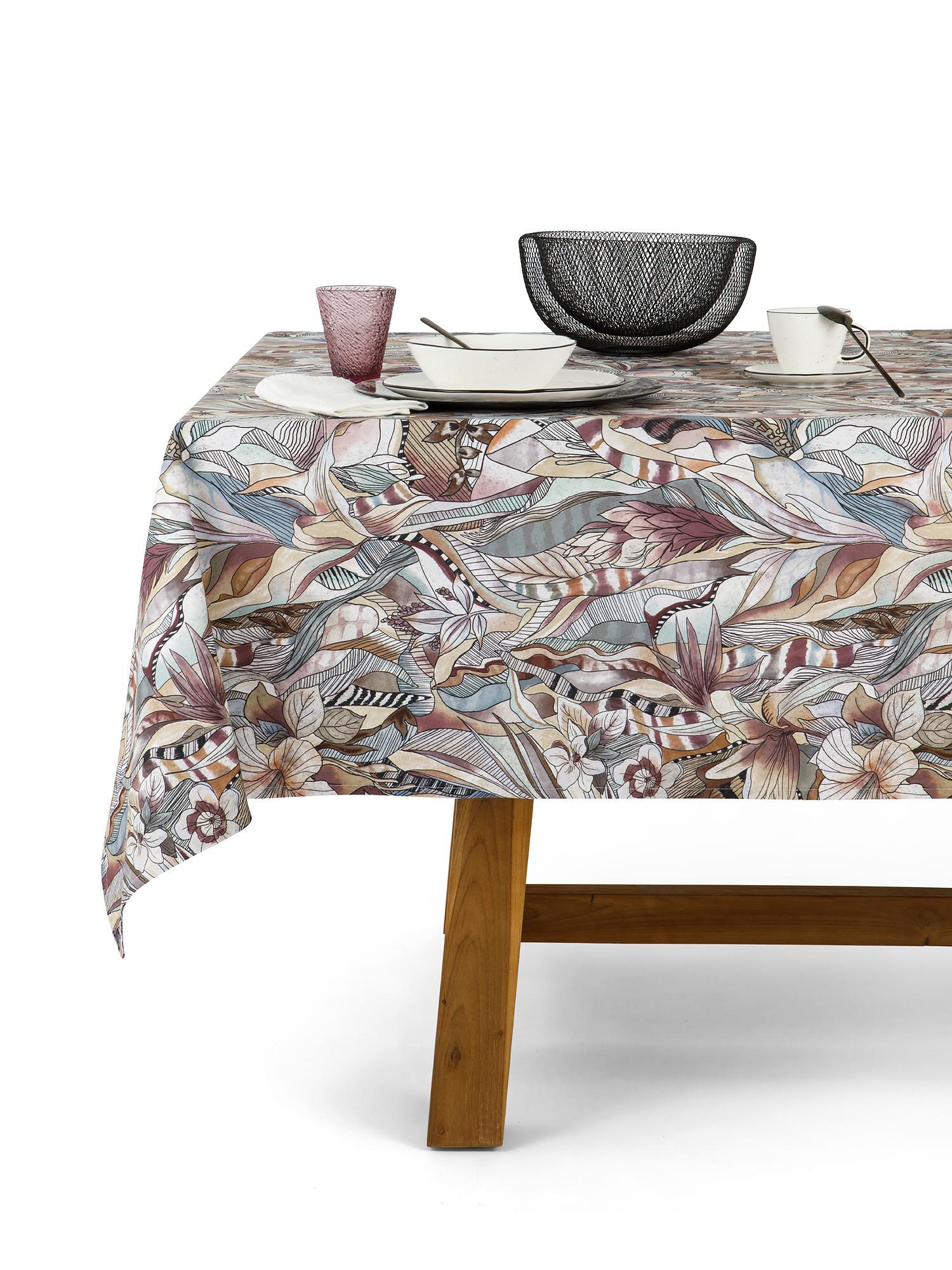 Tovaglia puro cotone stampa batik, Grigio, large image number 1