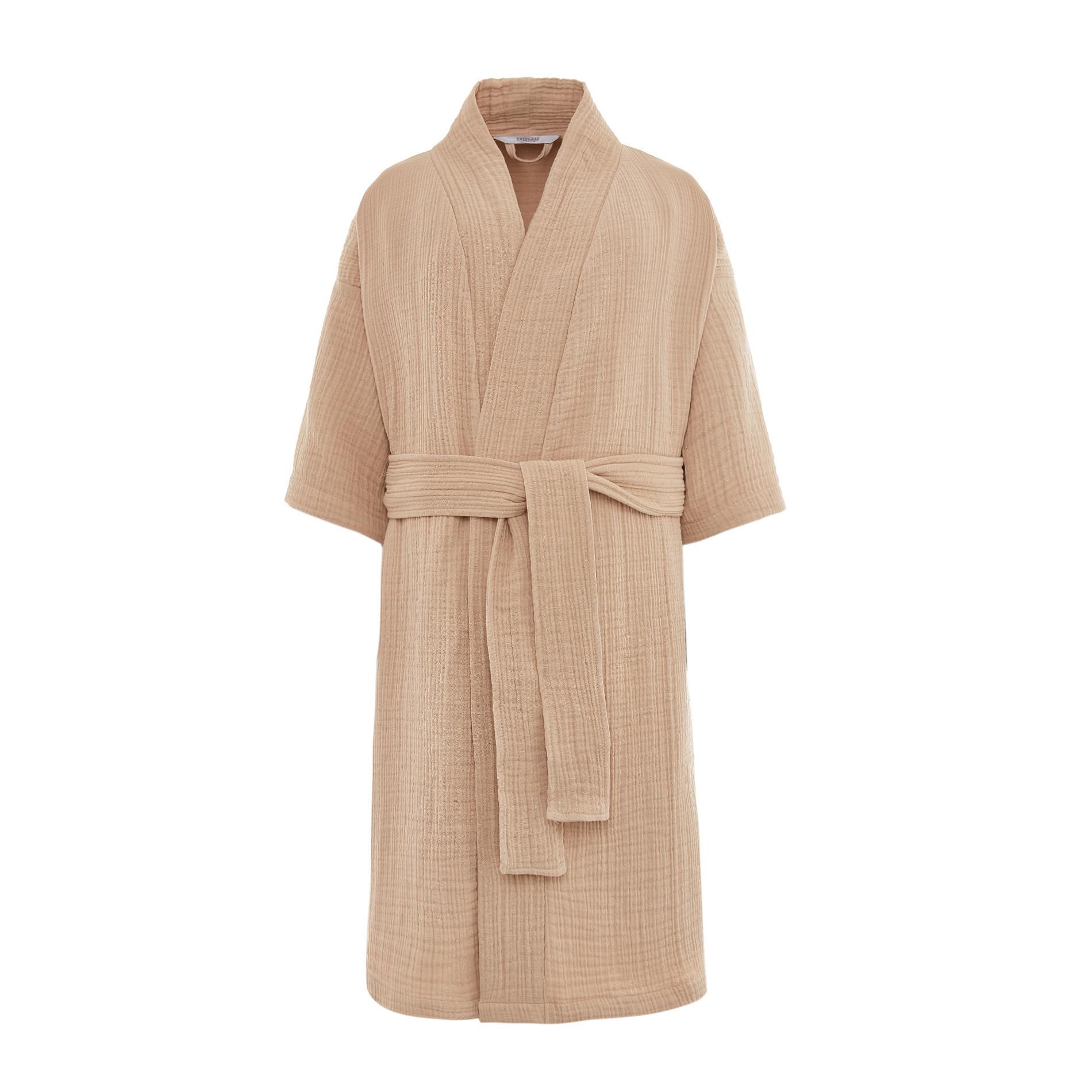 Accappatoio kimono mussola di cotone, Beige, large image number 1