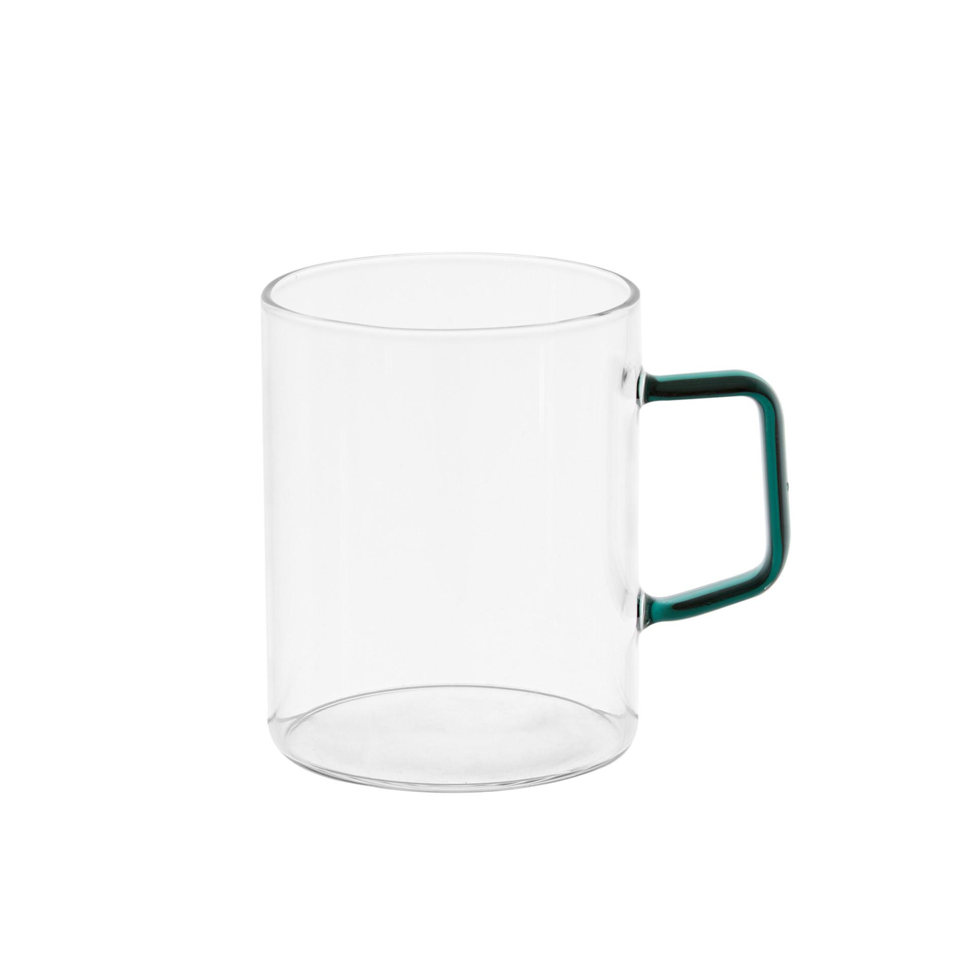 Mug vetro manico colorato, Trasparente, large image number 0