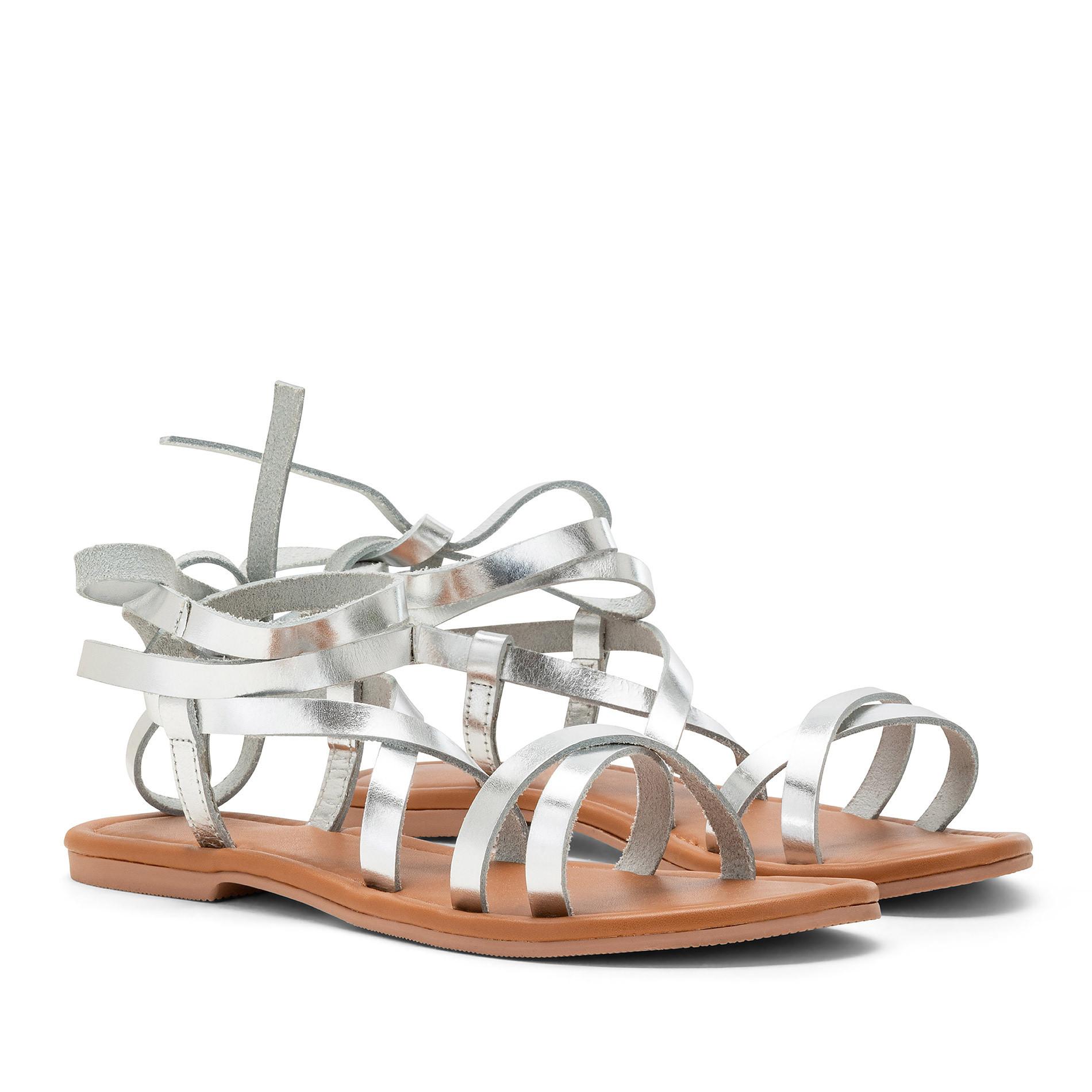 Sandalo con fascette metallizzate, Grigio argento, large image number 0