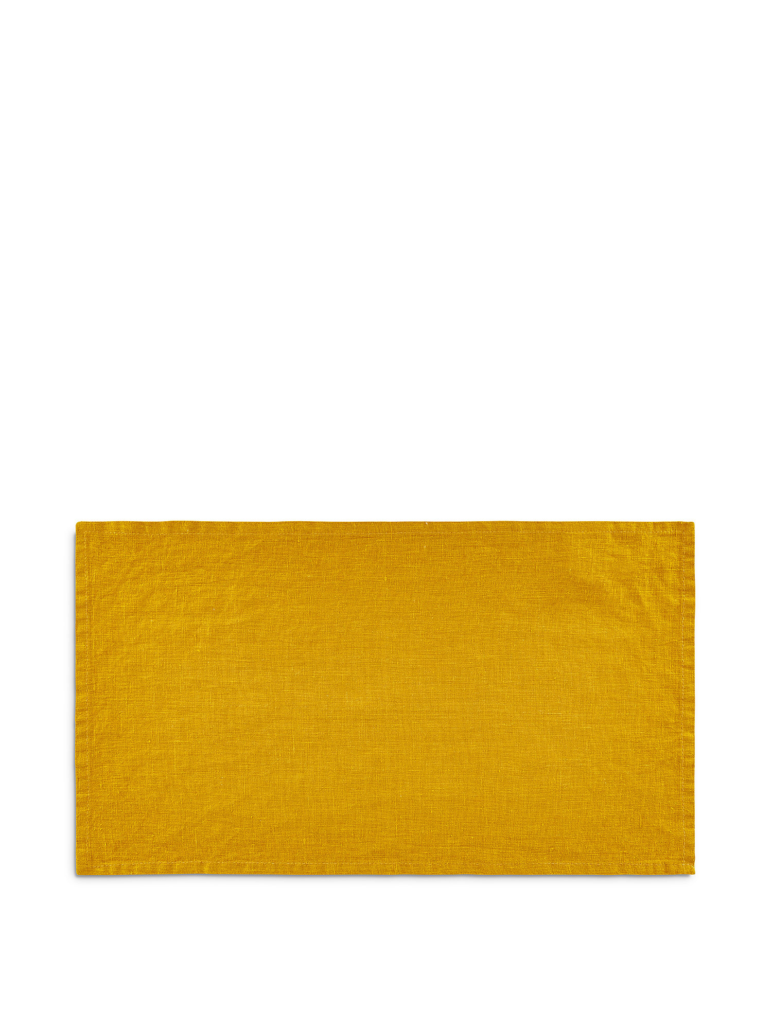 Tovaglietta lino lavato tinta unita, Giallo ocra, large image number 0