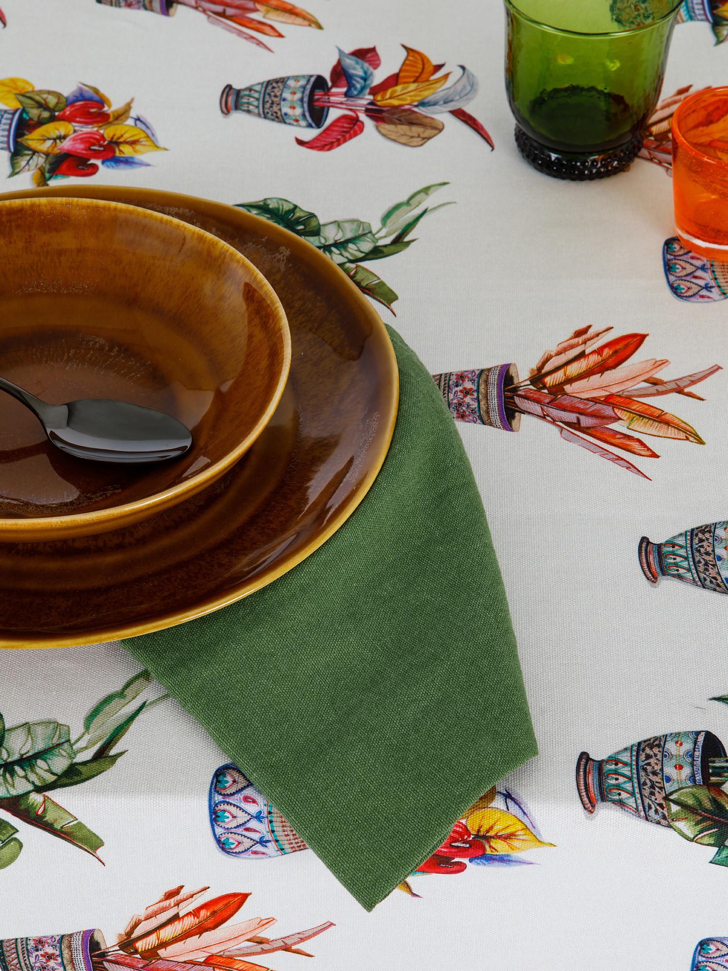 Tovaglia puro cotone organico stampa vasi, Multicolor, large image number 1