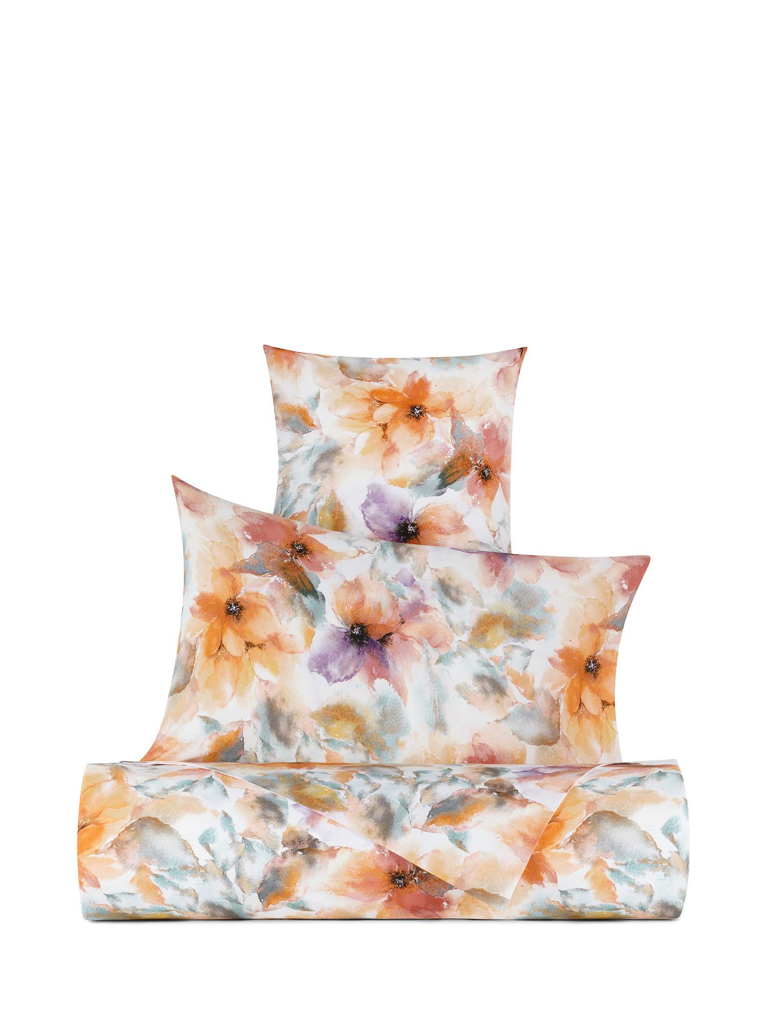 Lenzuolo liscio cotone percalle fantasia autunnale, Multicolor, large image number 0