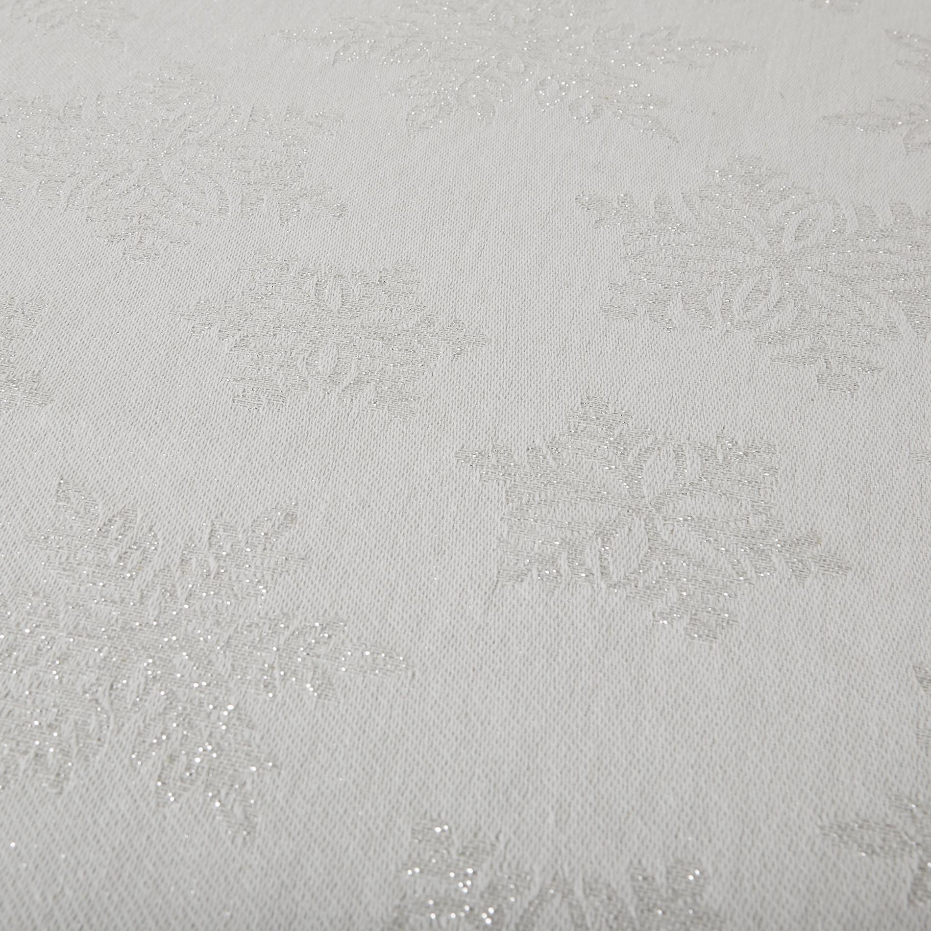 Tovaglia cotone e lurex stampa fiocchi di neve, Bianco, large image number 2