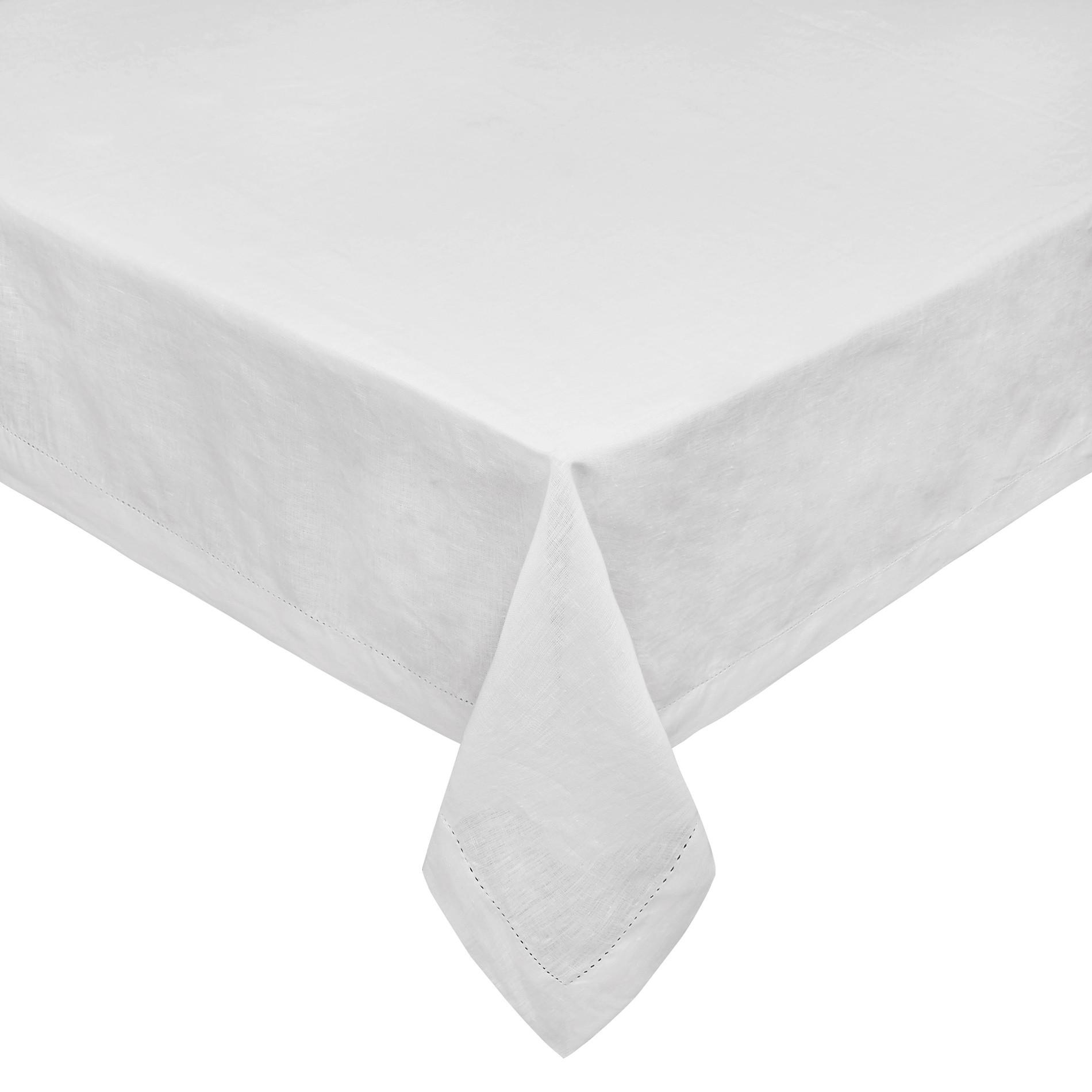 Tovaglia puro lino bordo a-jour, Bianco, large image number 0