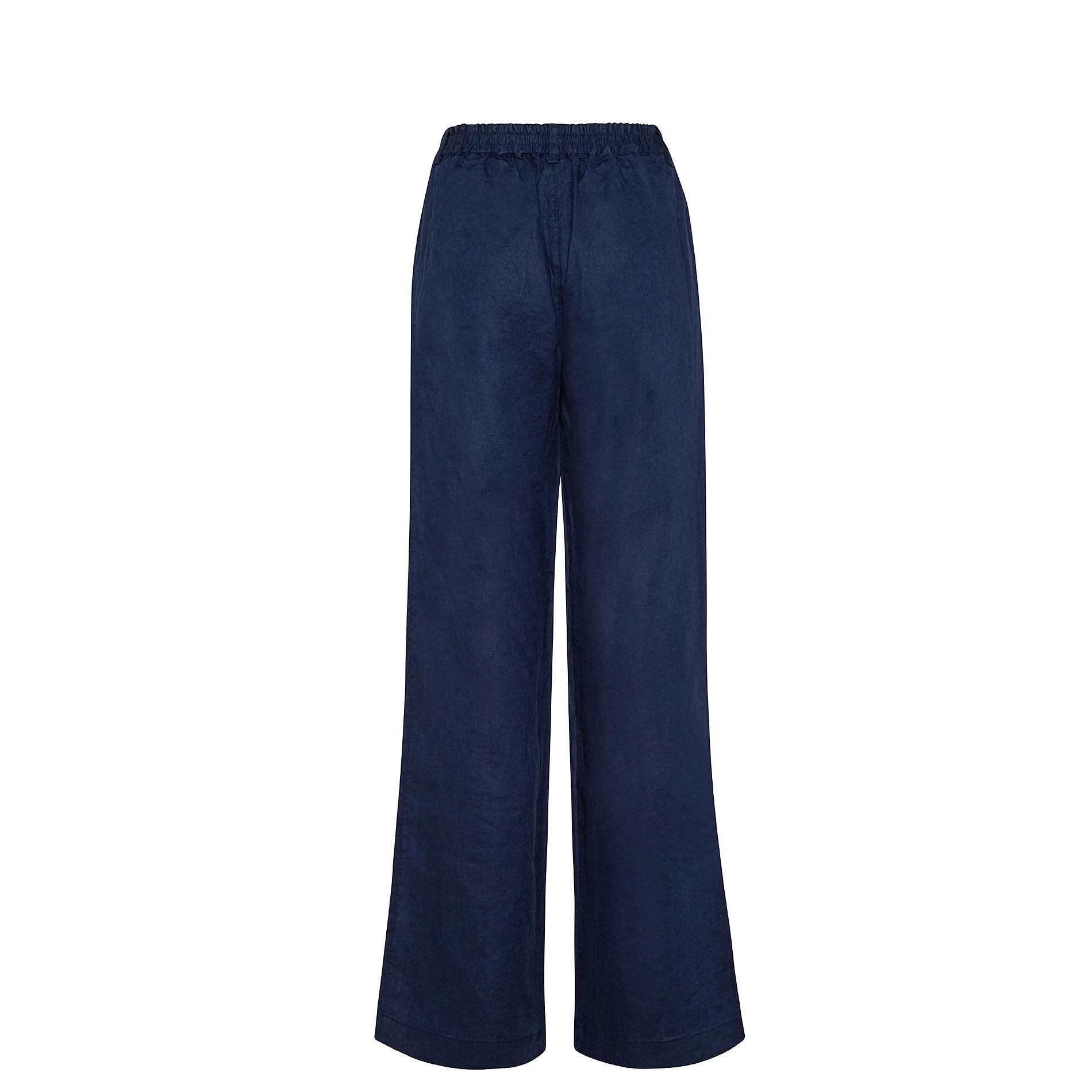 Pantalone morbido 100% lino Koan, Blu scuro, large image number 1