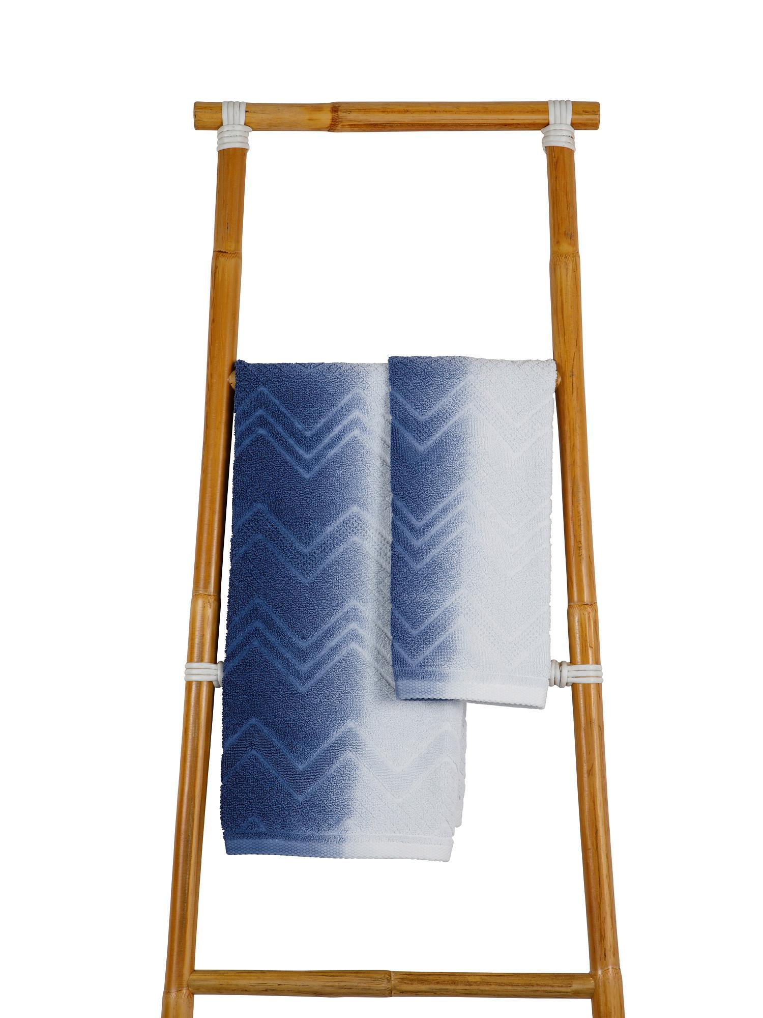 Asciugamano spugna di cotone dip dye, Blu, large image number 0