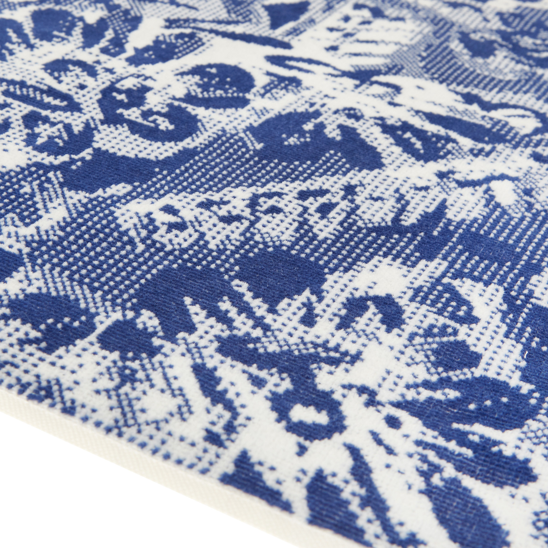 Asciugamano cotone velour motivo floreale, Blu, large image number 2