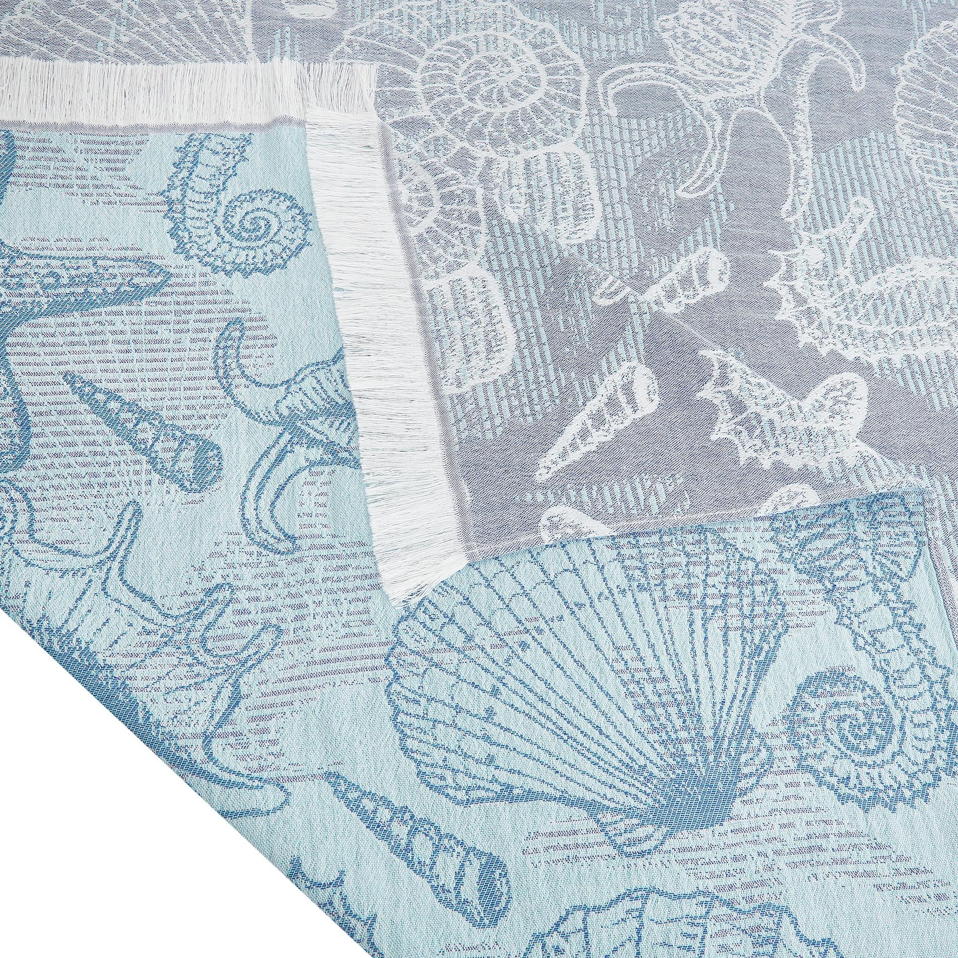 Telo mare cotone leggero motivo conchiglie, Azzurro, large image number 1