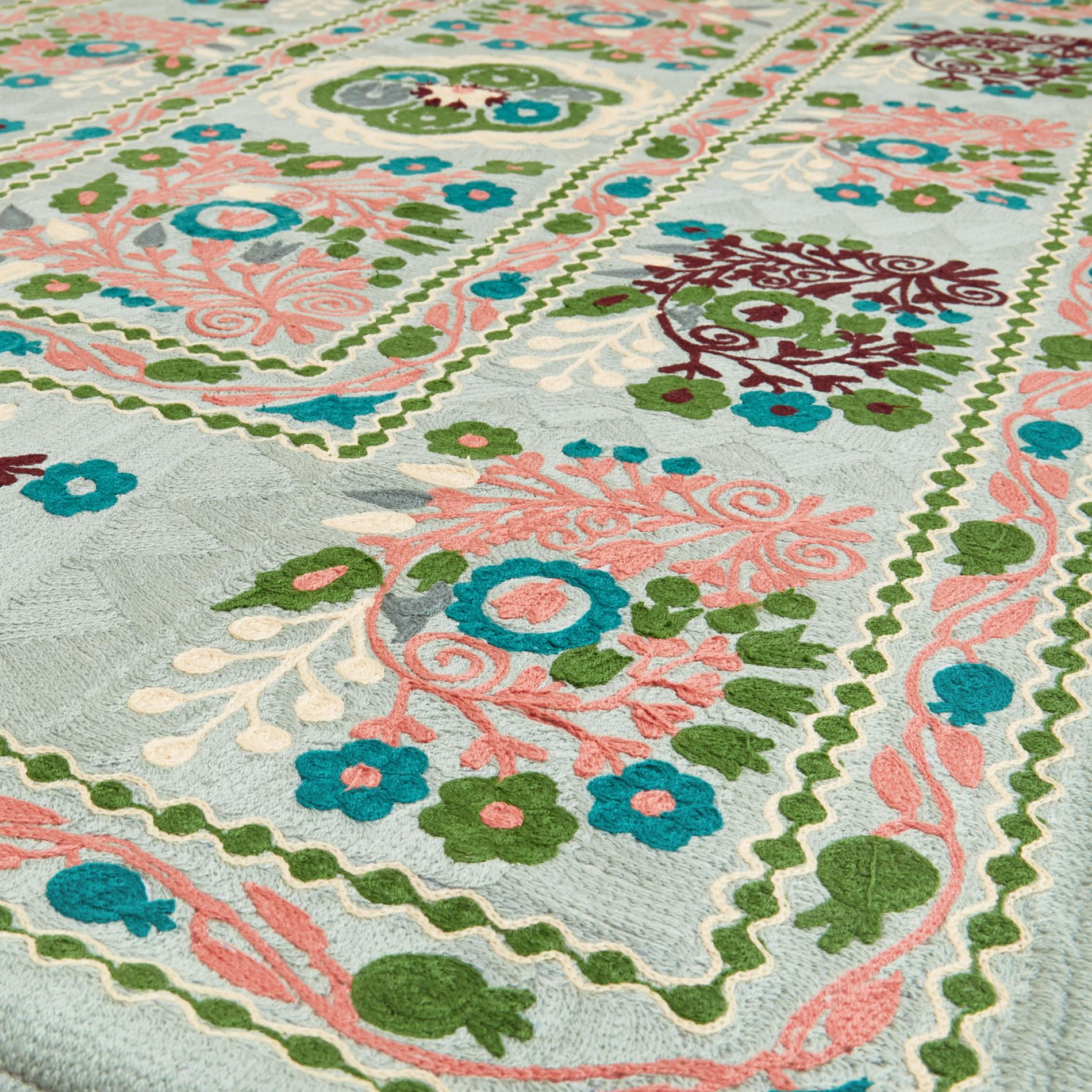 Tappeto puro cotone motivo floreale in lana, Multicolor, large image number 1
