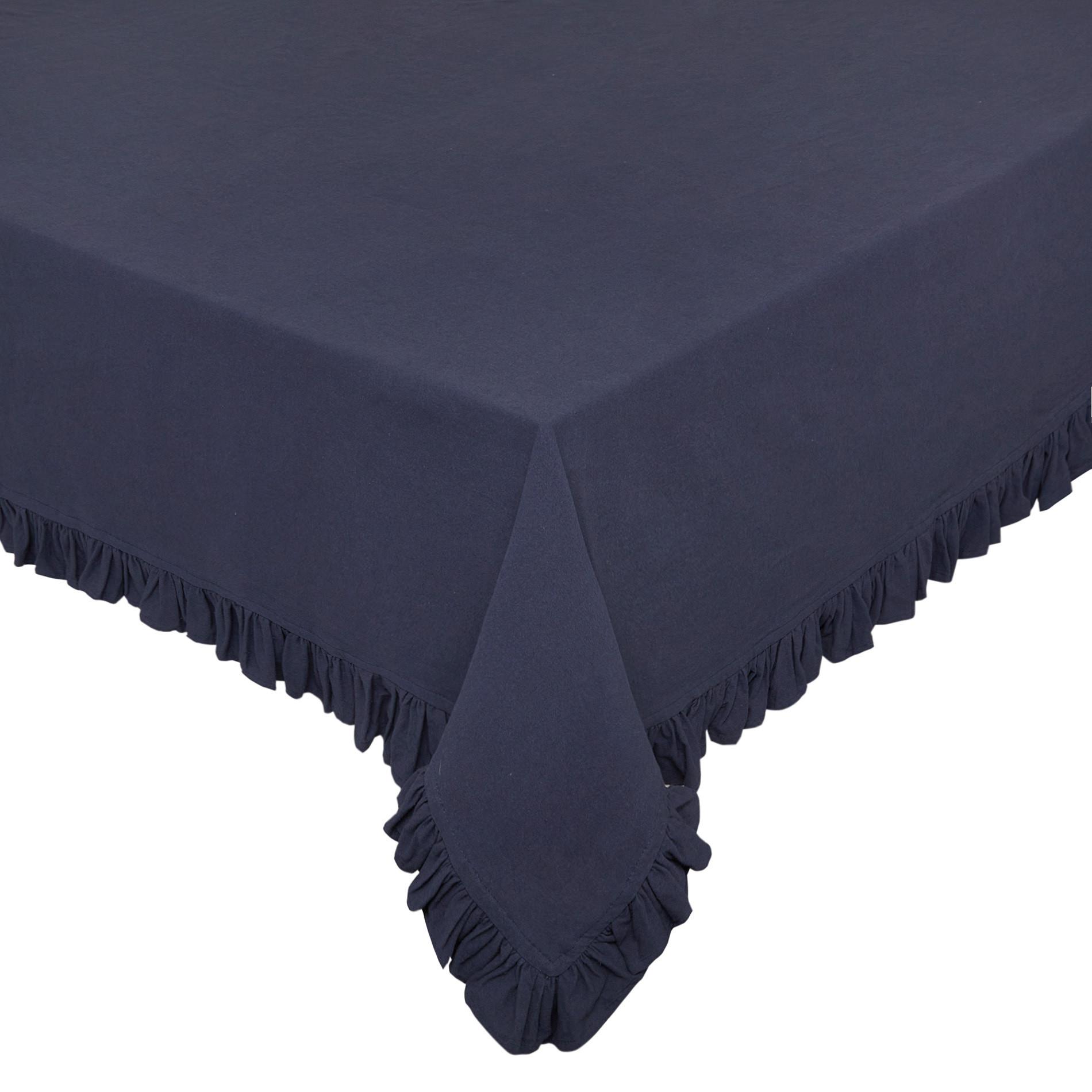 Tovaglia puro cotone garment washed bordo volant, Blu scuro, large image number 0