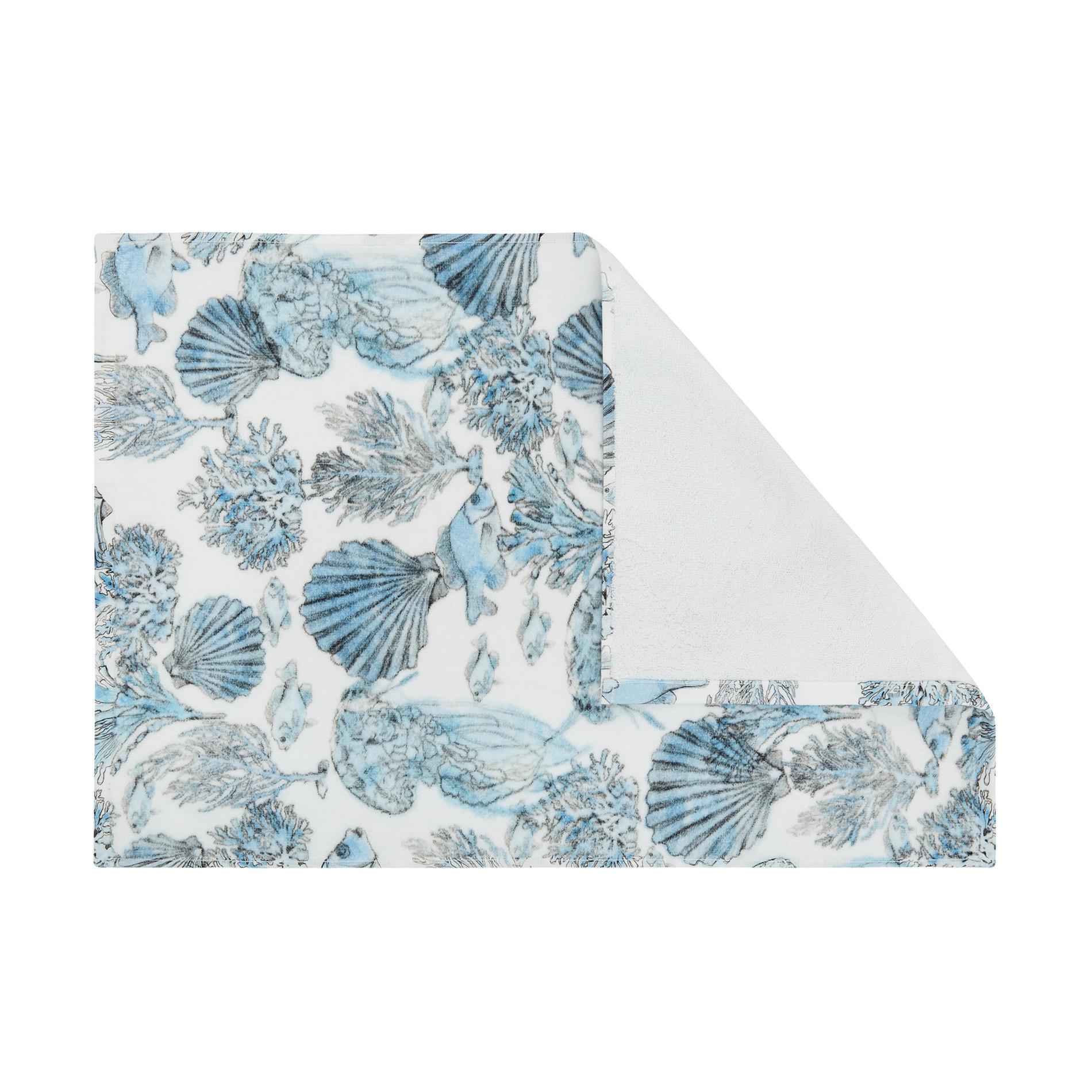 Asciugamano cotone velour stampa fondale marino, Bianco, large image number 2