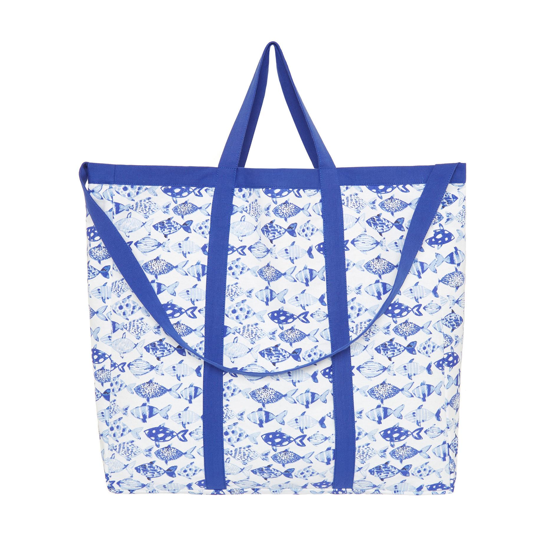 Borsa puro cotone stampa pesci, Azzurro, large image number 0