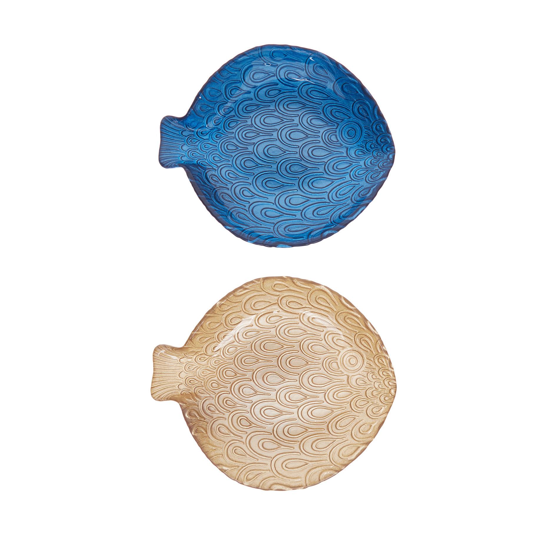 Piatto vetro a forma di pesce, Blu, large image number 0