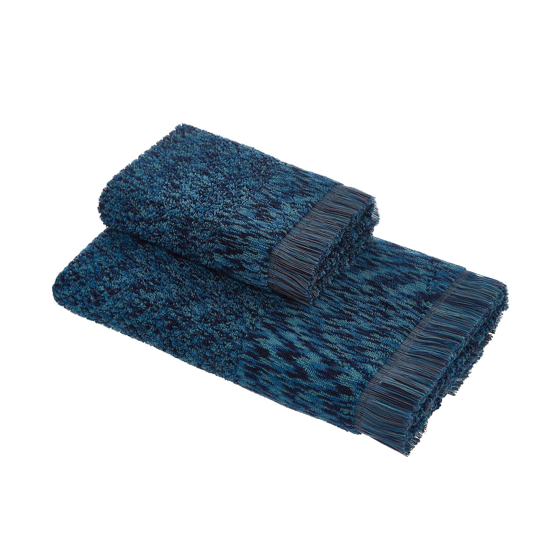 Asciugamano spugna di cotone effetto melange, Blu, large image number 0