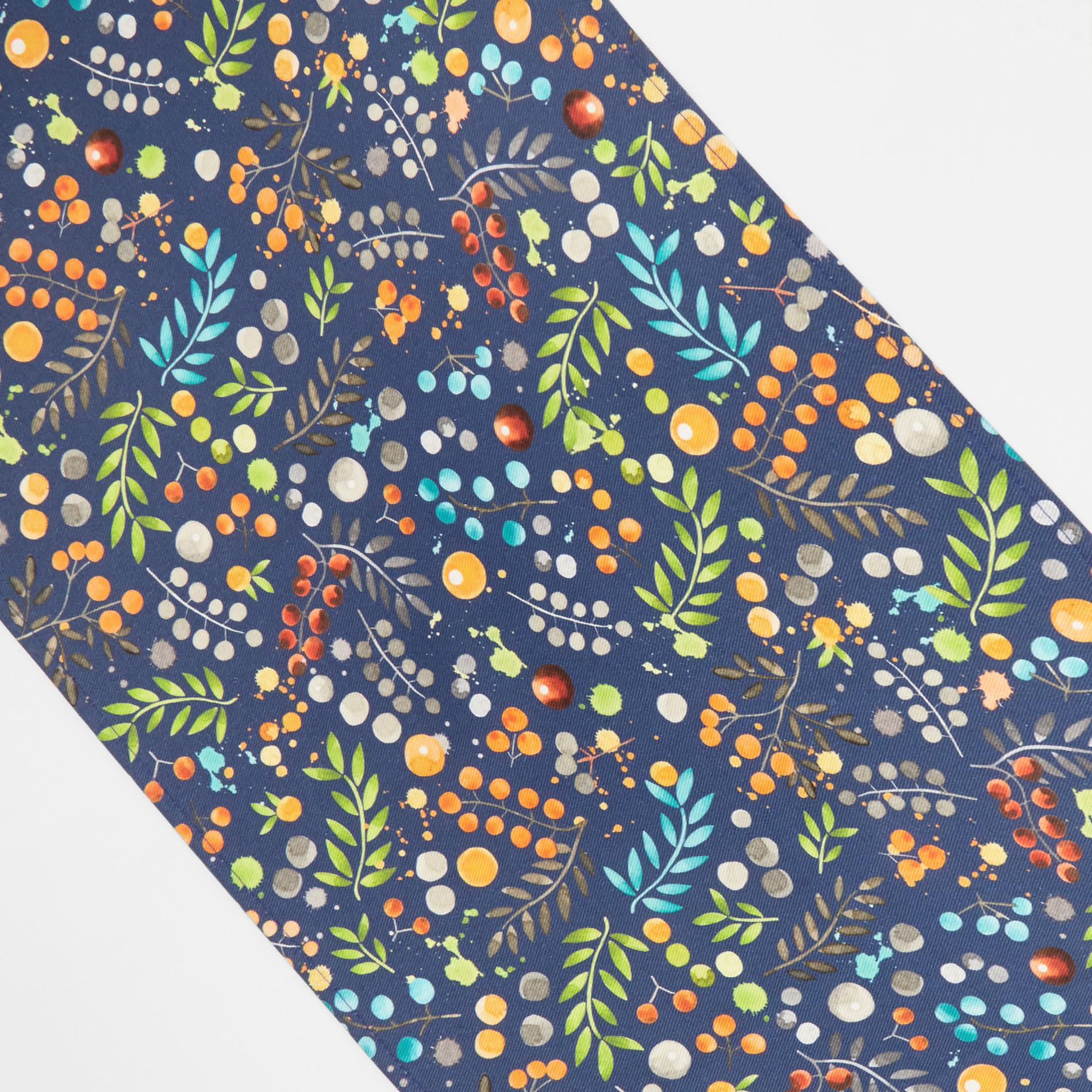 Runner twill di cotone idrorepellente stampa fiori, Blu, large image number 1