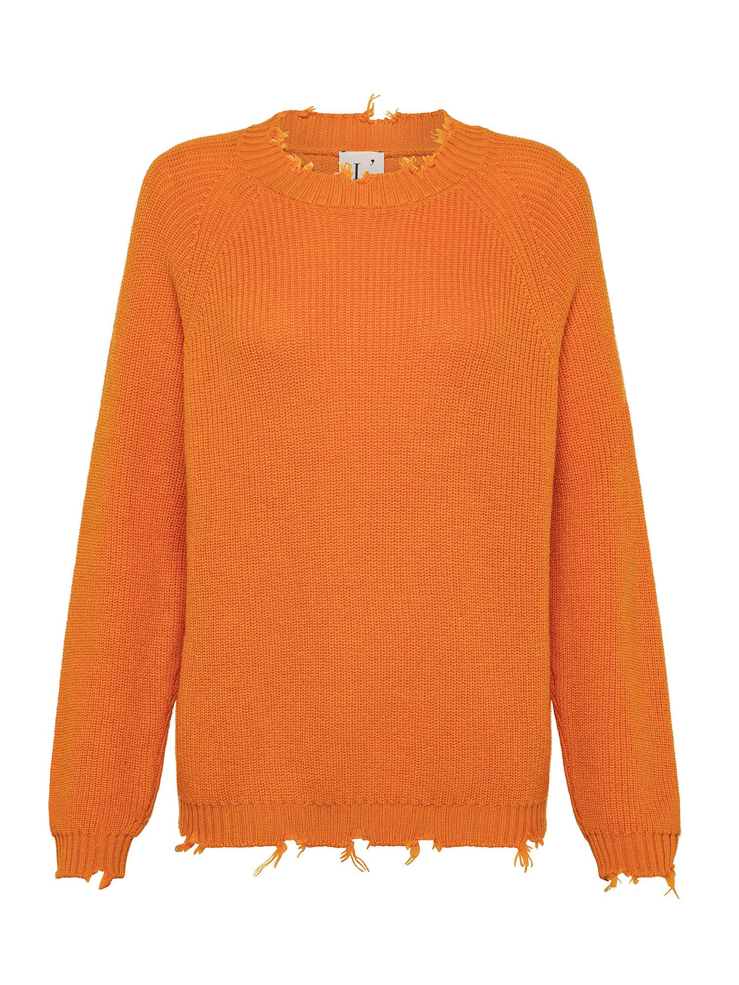Maglione in pura lana, Arancione, large image number 0