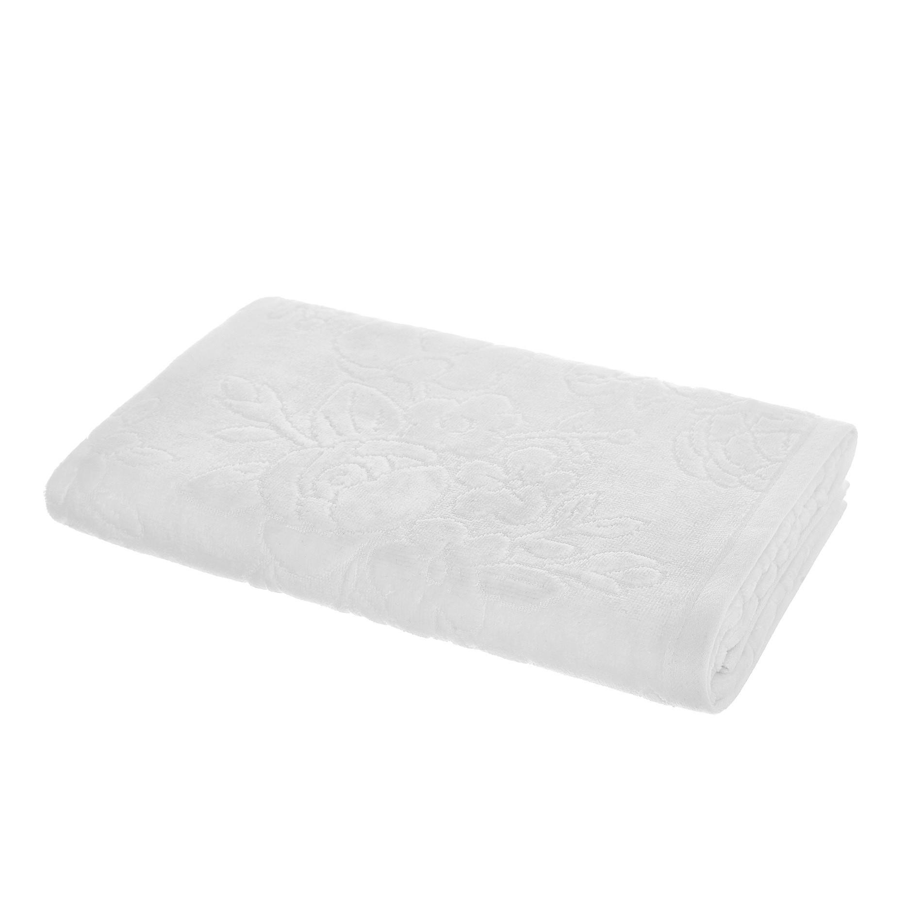 Asciugamano puro cotone lavorazione floreale, Bianco, large image number 1